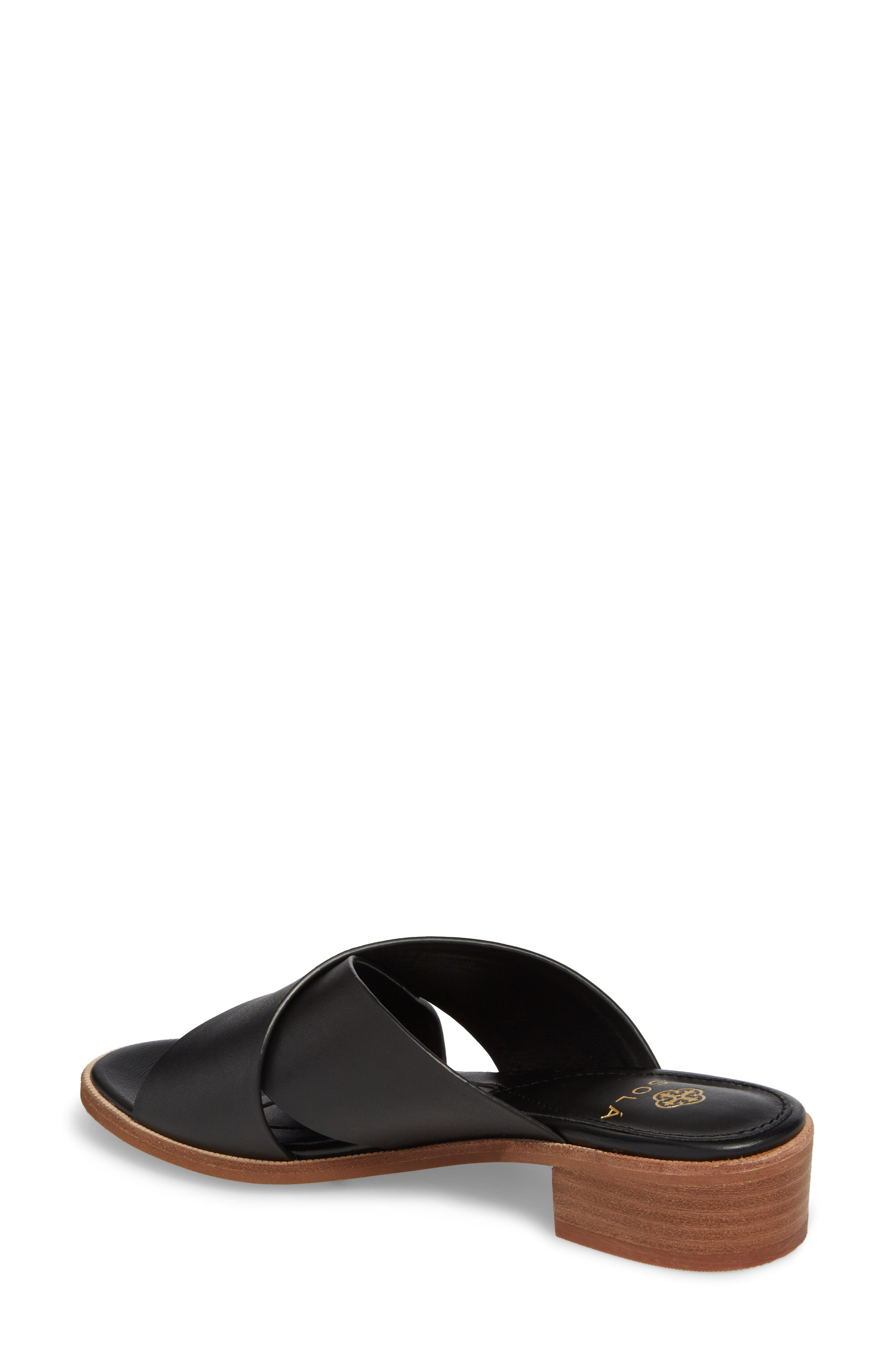 Isola Ginata Slide Sandal,                             Alternate thumbnail 2, color,                             Black Leather