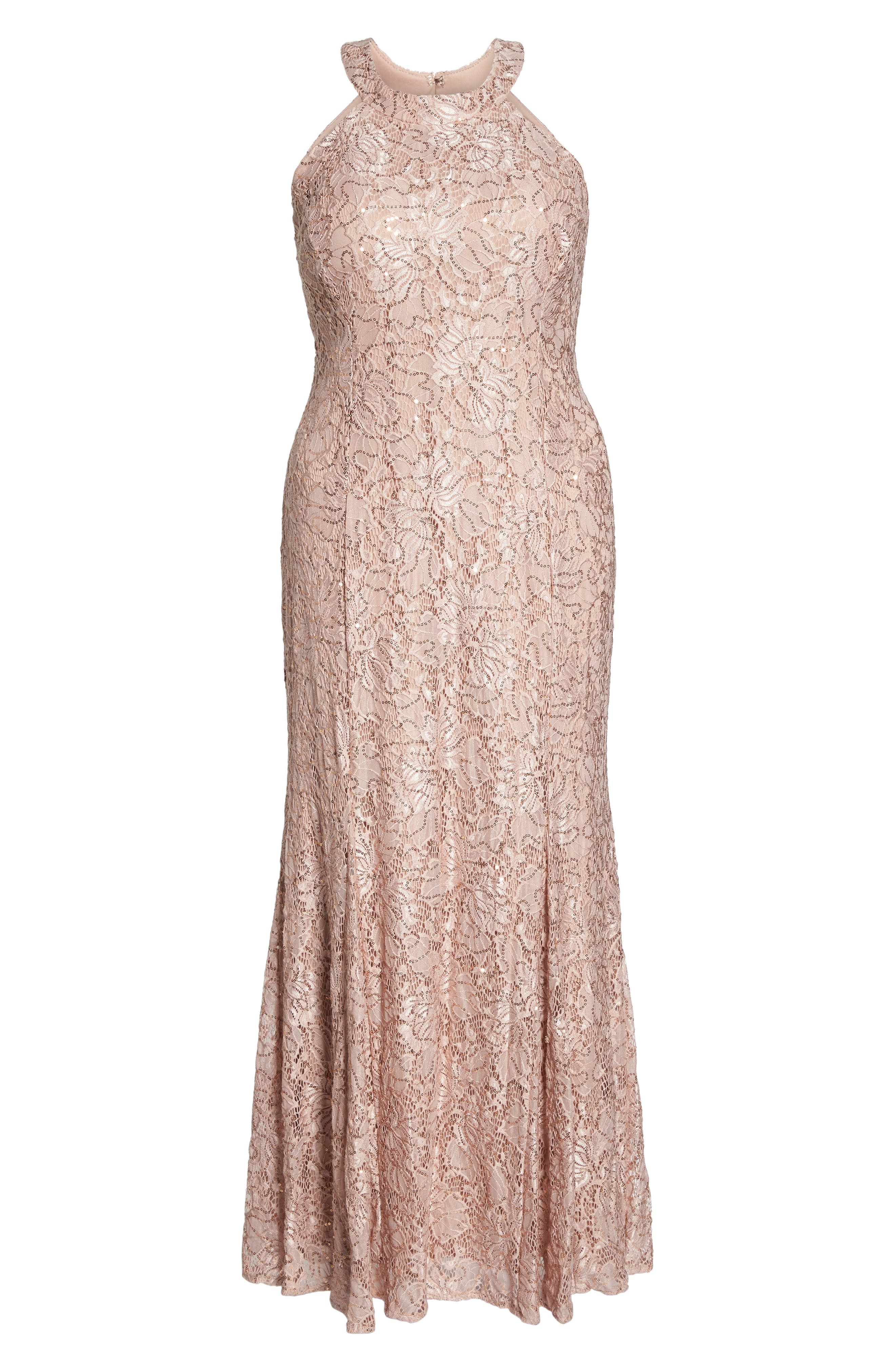 Sequin Lace Gown,                             Alternate thumbnail 6, color,                             Rose Gold