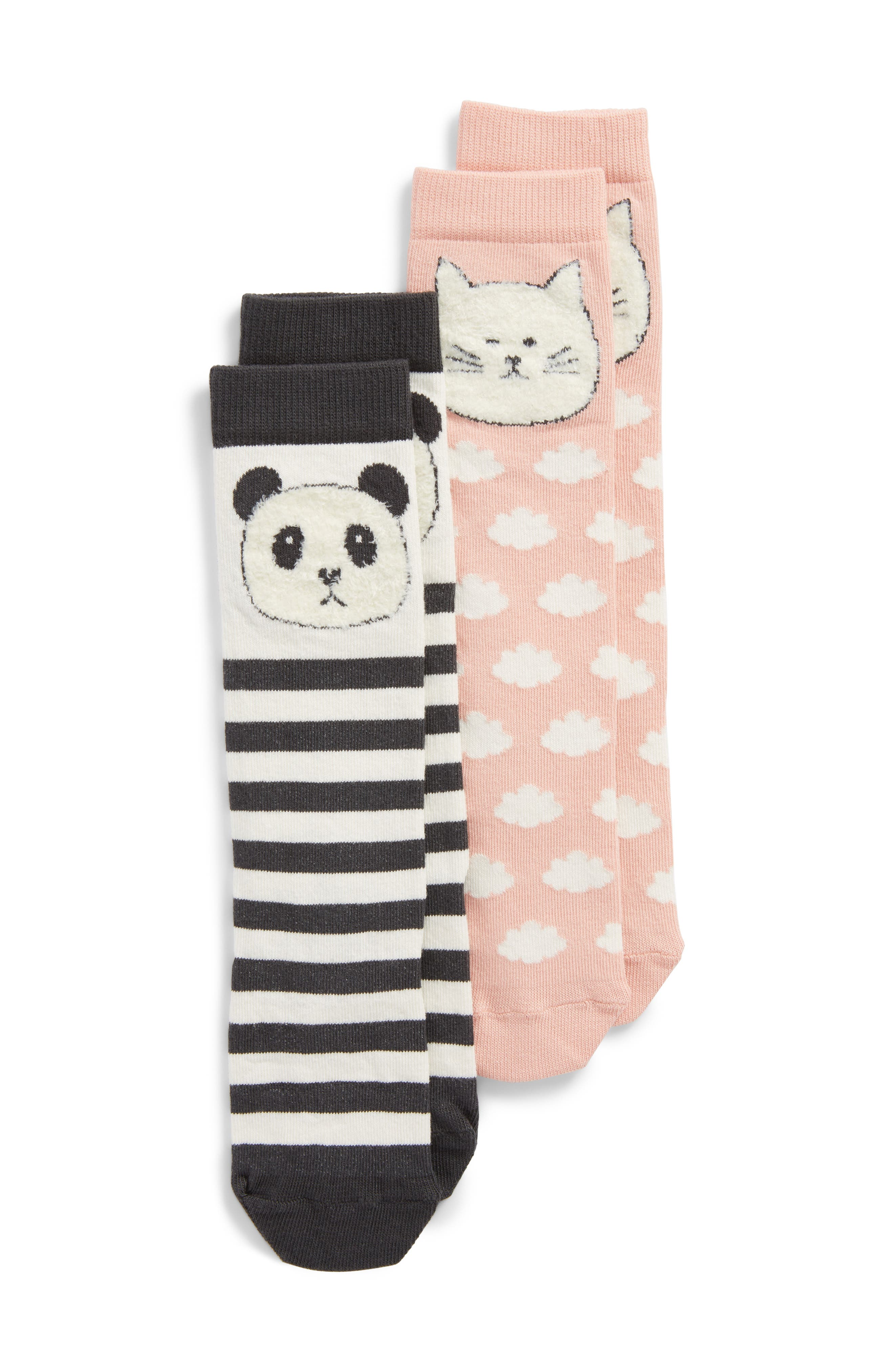 2-Pack Critter Knee Socks,                             Main thumbnail 1, color,                             Charcoal Stripe Multi