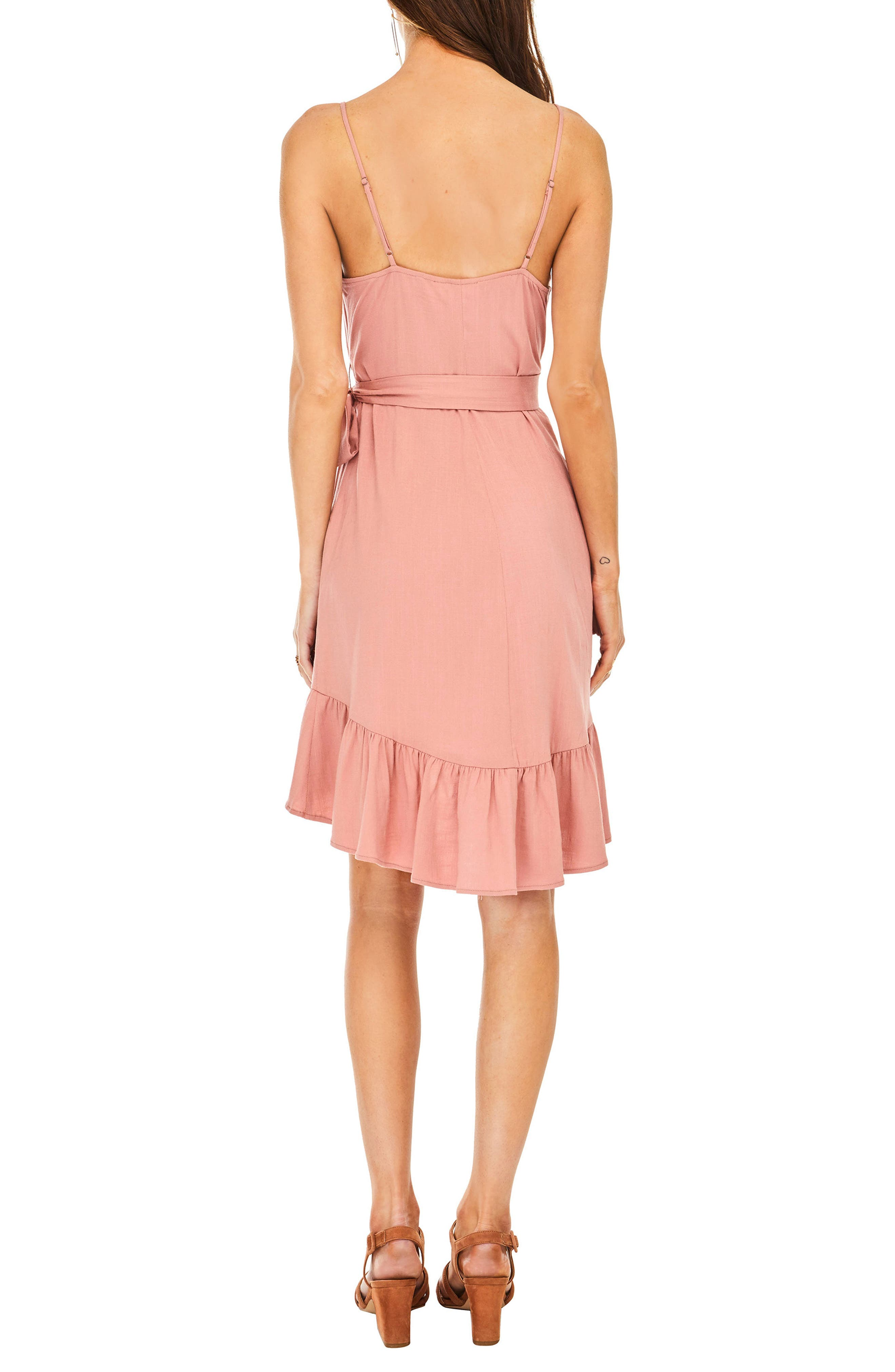 Sandy High/Low Minidress,                             Alternate thumbnail 3, color,                             Carnation Pink