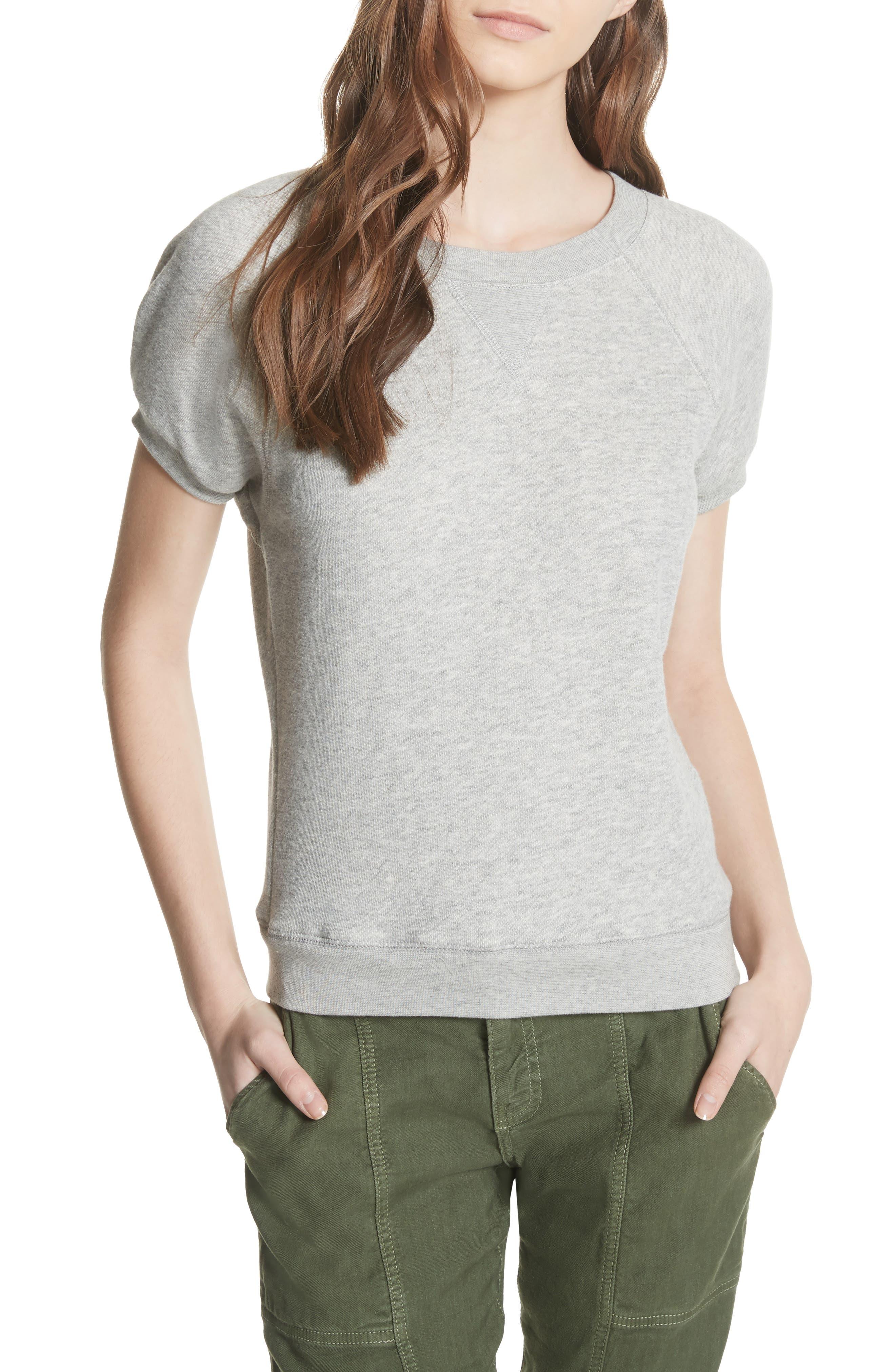Christal Puff Sleeve Sweatshirt,                             Main thumbnail 1, color,                             Heather Grey