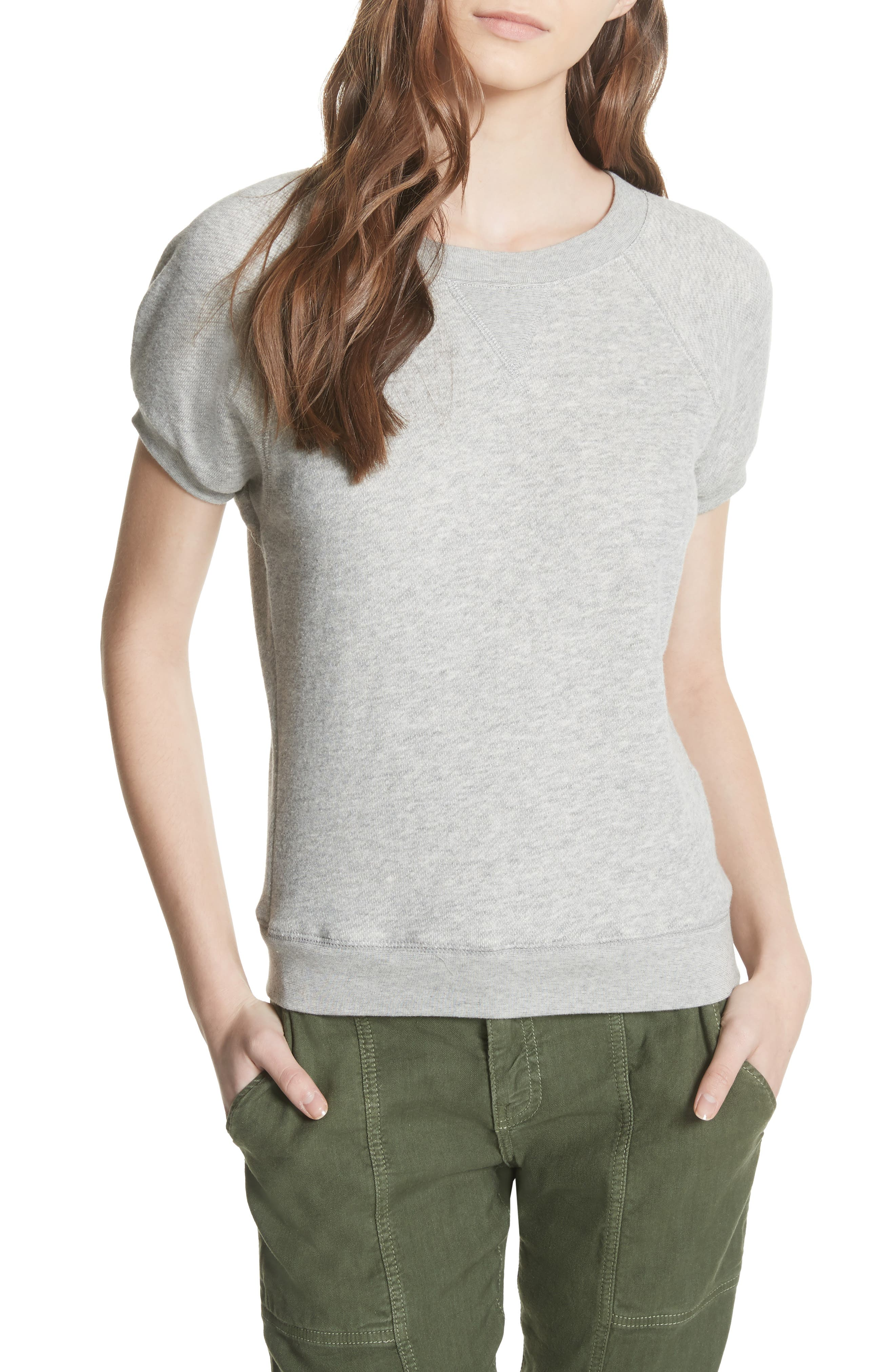 Christal Puff Sleeve Sweatshirt,                         Main,                         color, Heather Grey