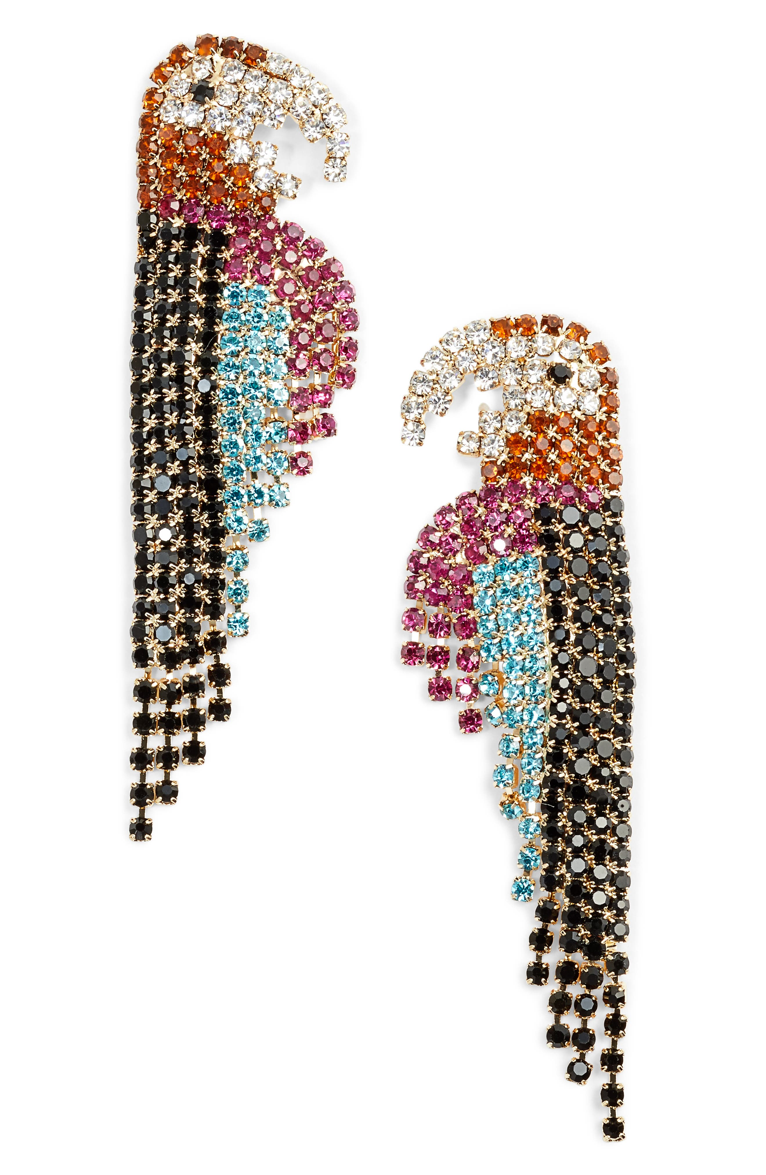 Mad Jewels Polly Parrot Rhinestone Statement Earrings