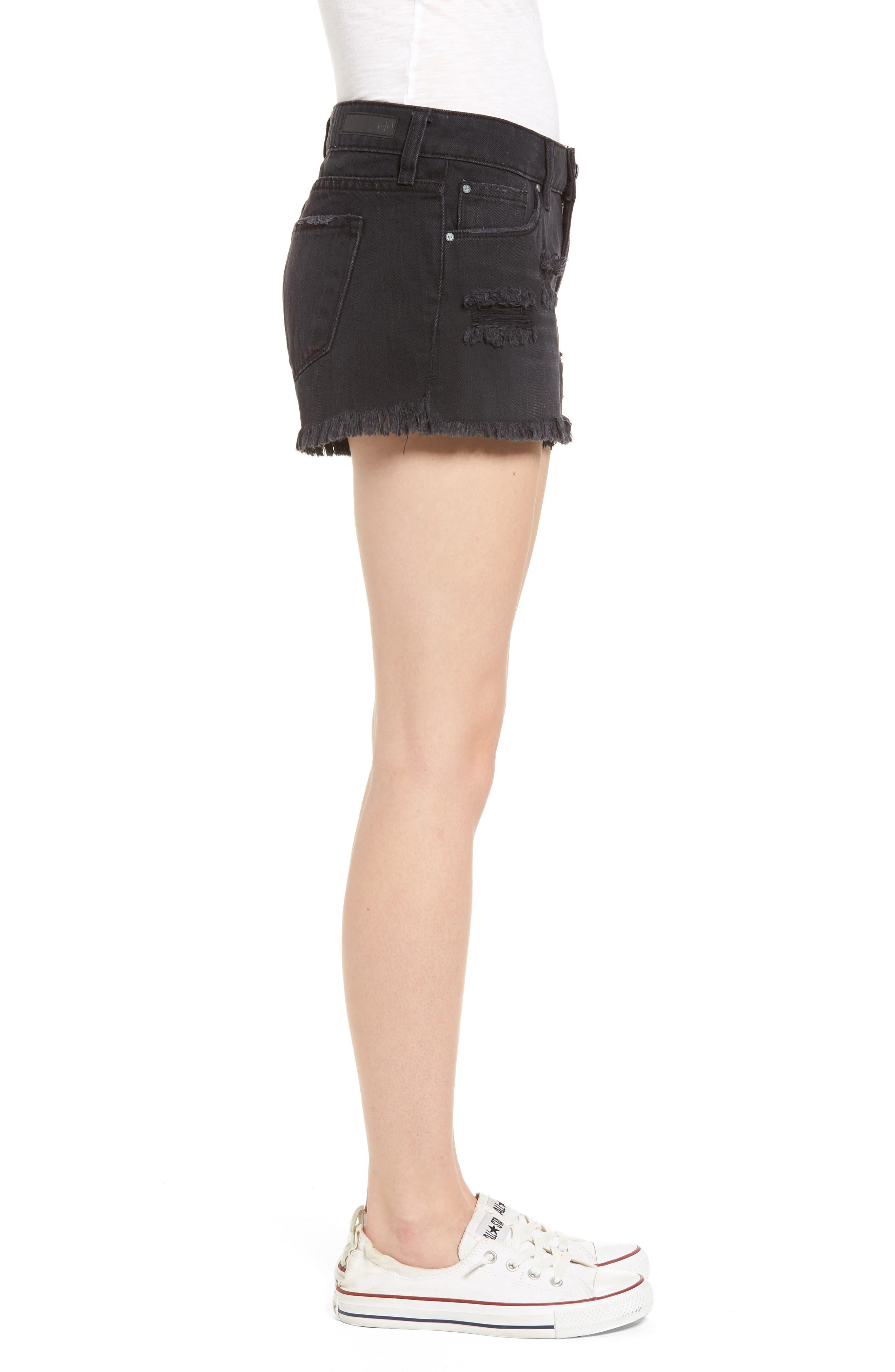 Fray Hem Denim Shorts,                             Alternate thumbnail 3, color,                             Black