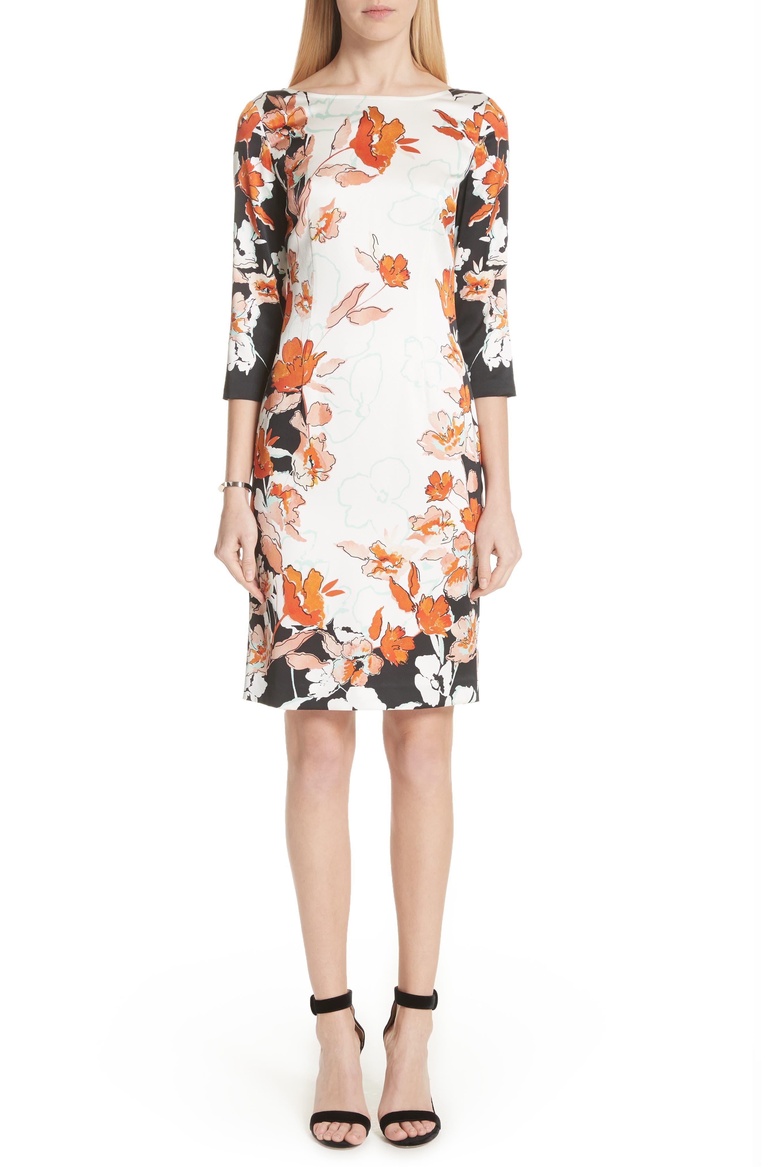 St. John Collection Modern Floral Print Stretch Silk Dress