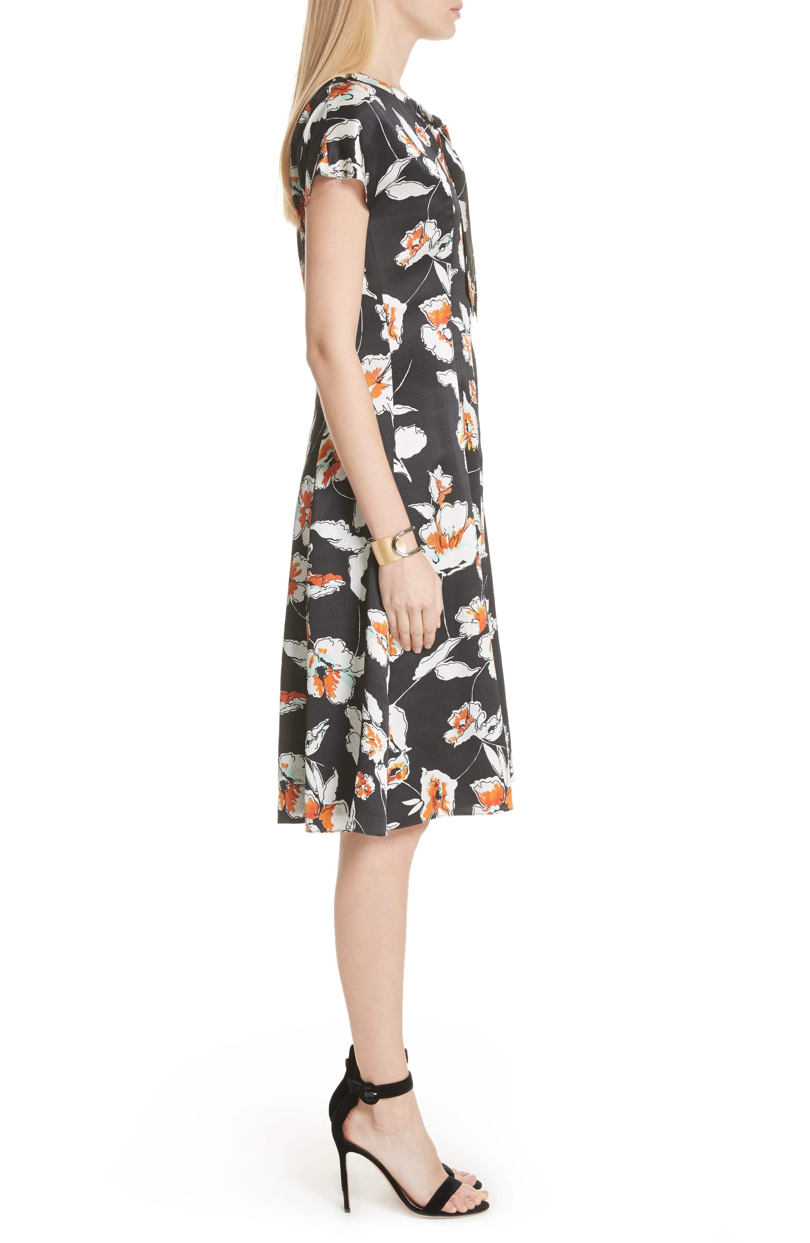 Modern Floral Hammered Satin Dress,                             Alternate thumbnail 3, color,                             Caviar Multi