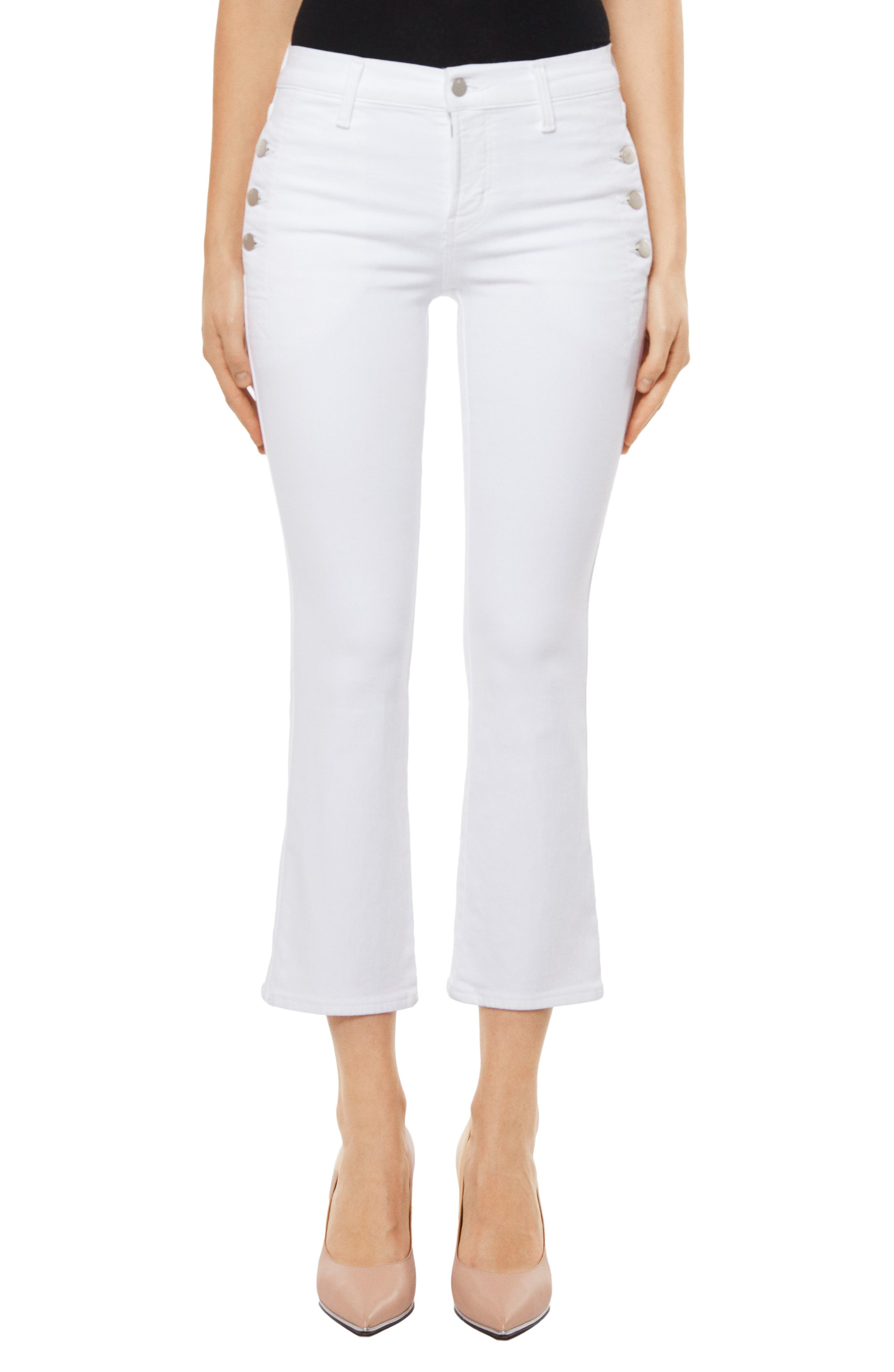 Zion Crop Flare Jeans,                         Main,                         color, Blanc