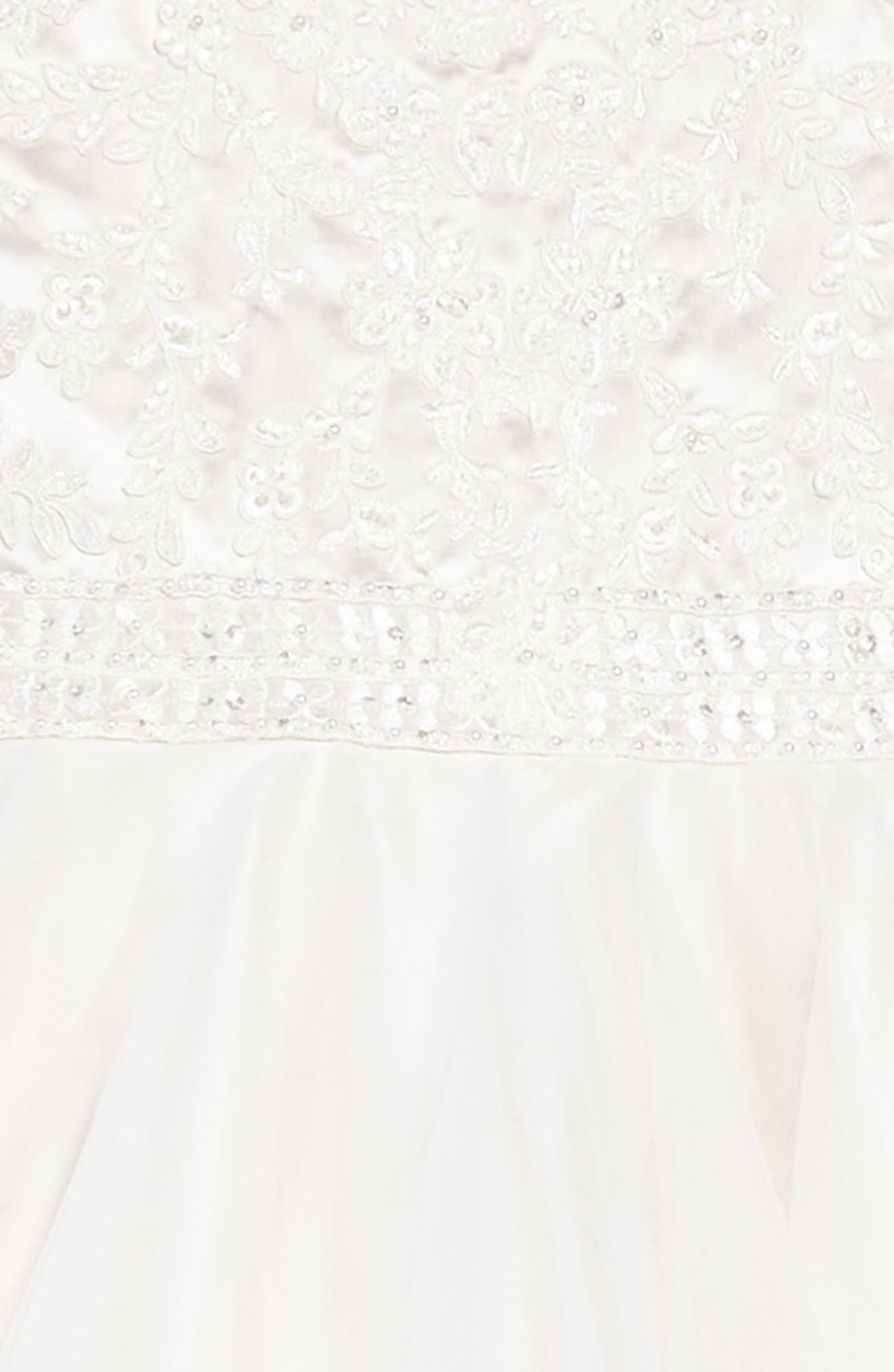 Lace & Tulle Dress,                             Alternate thumbnail 3, color,                             Ivory/ Gardenia