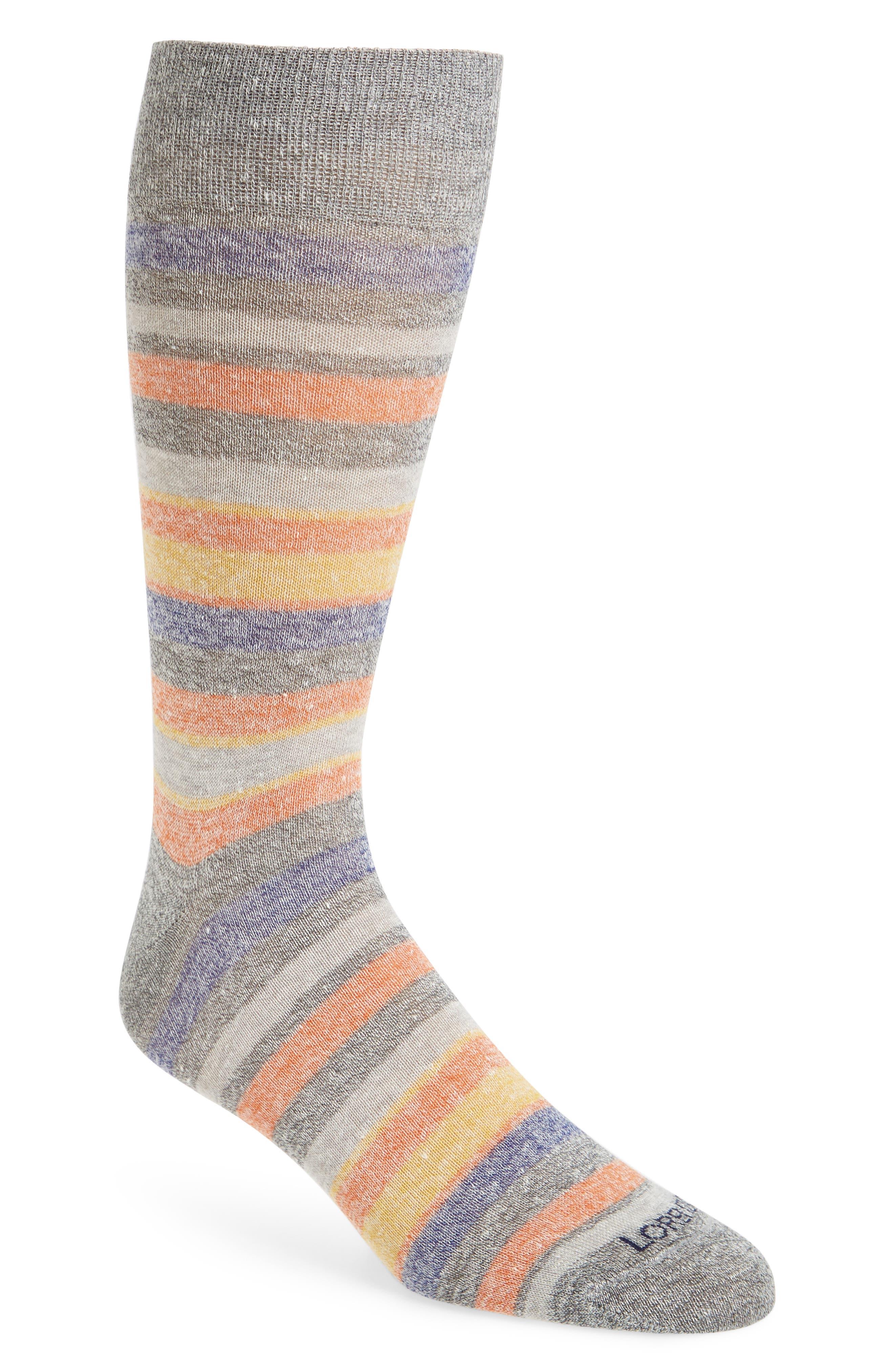 Stripe Linen Blend Socks,                             Main thumbnail 1, color,                             Medium Grey