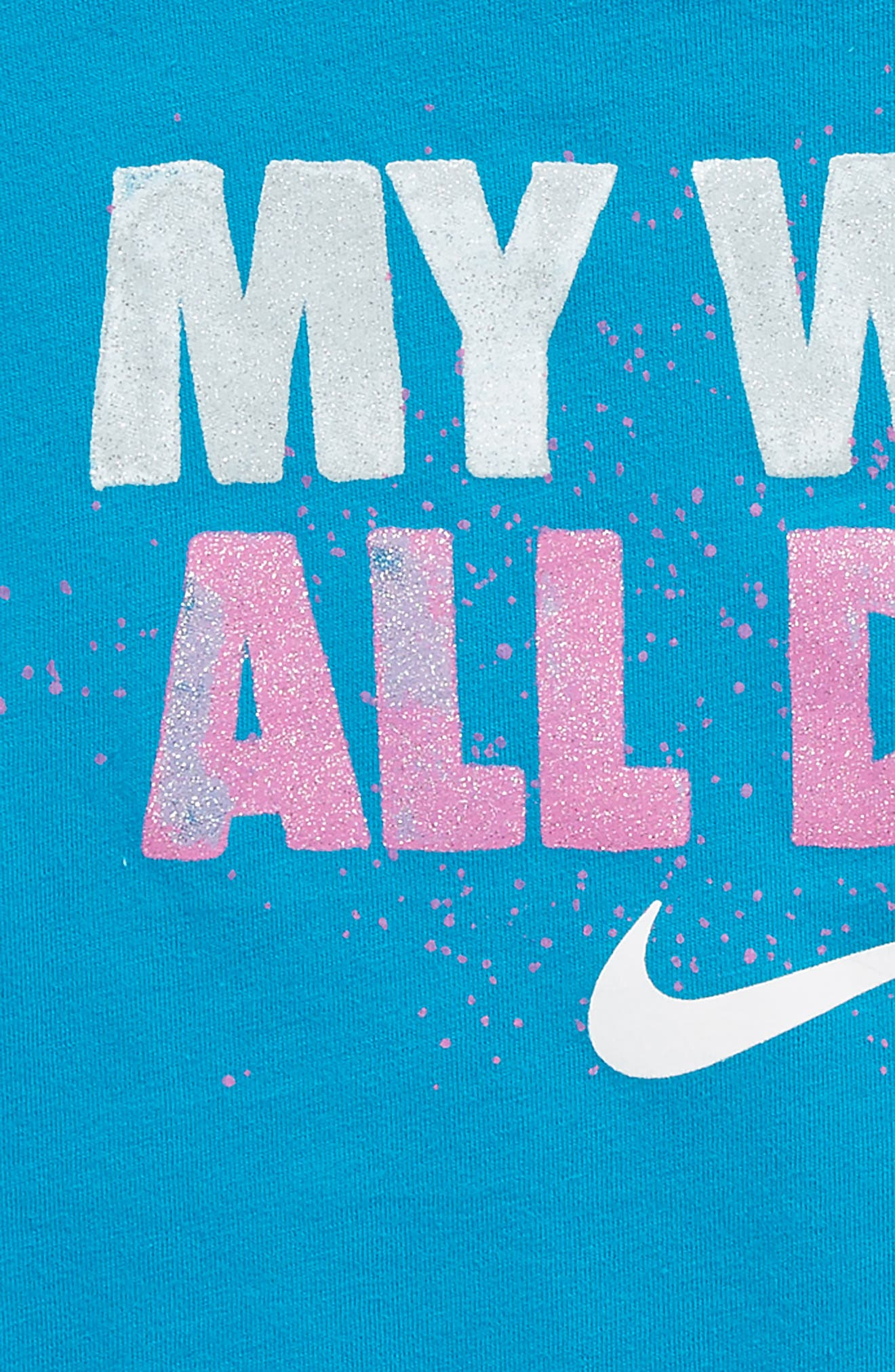 I Want It All Graphic Tee,                             Alternate thumbnail 2, color,                             Neon Turquoise