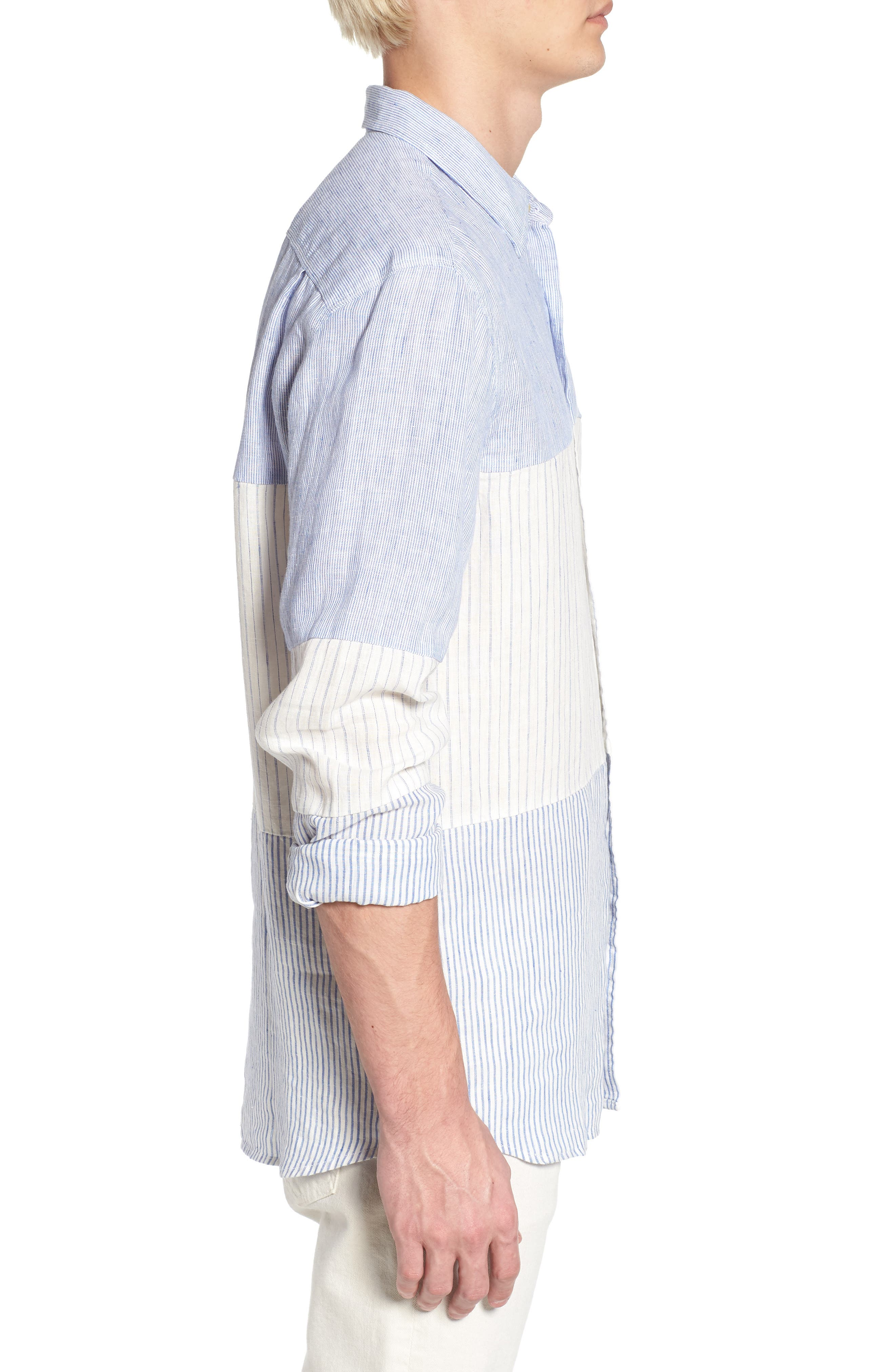 Relaxed Fit Stripe Linen & Cotton Sport Shirt,                             Alternate thumbnail 4, color,                             Rich Blue Stripes