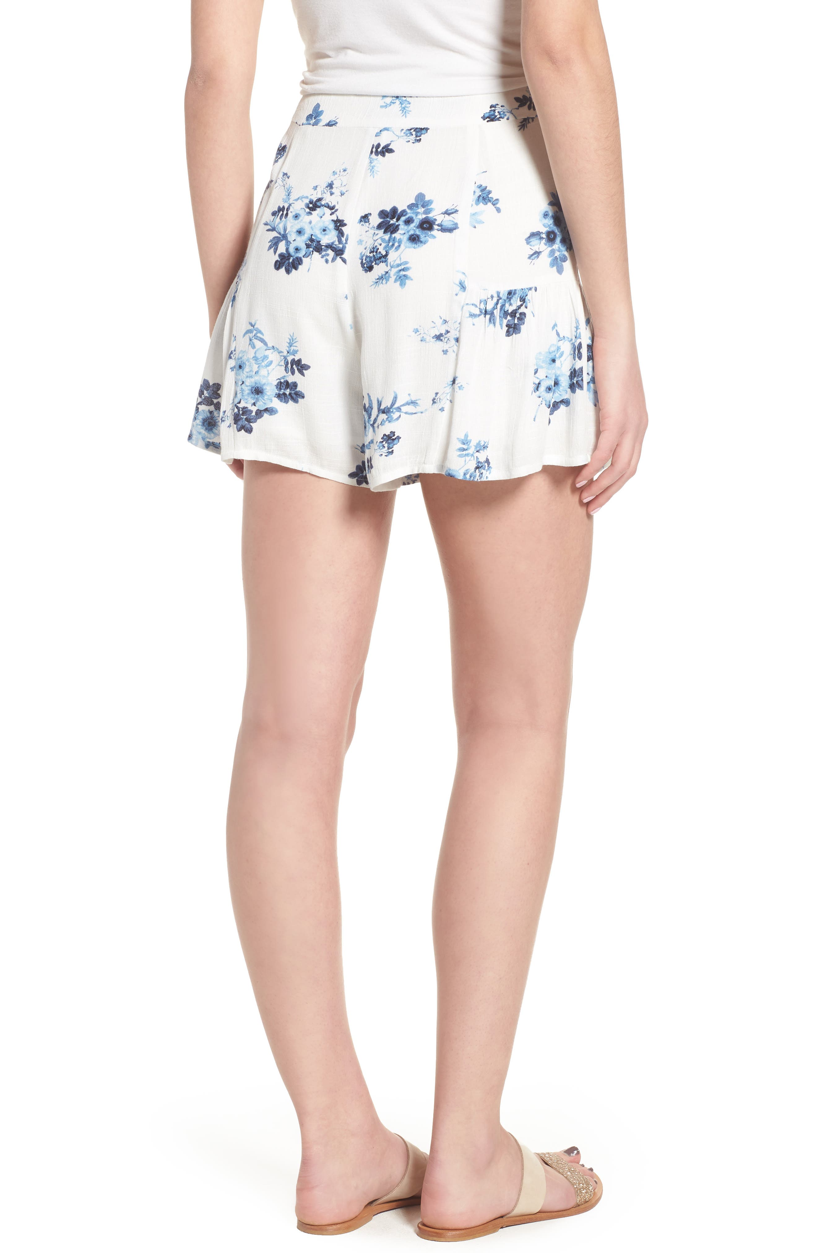 Floral Ruffle Hem Shorts,                             Alternate thumbnail 4, color,                             Indigo Floral