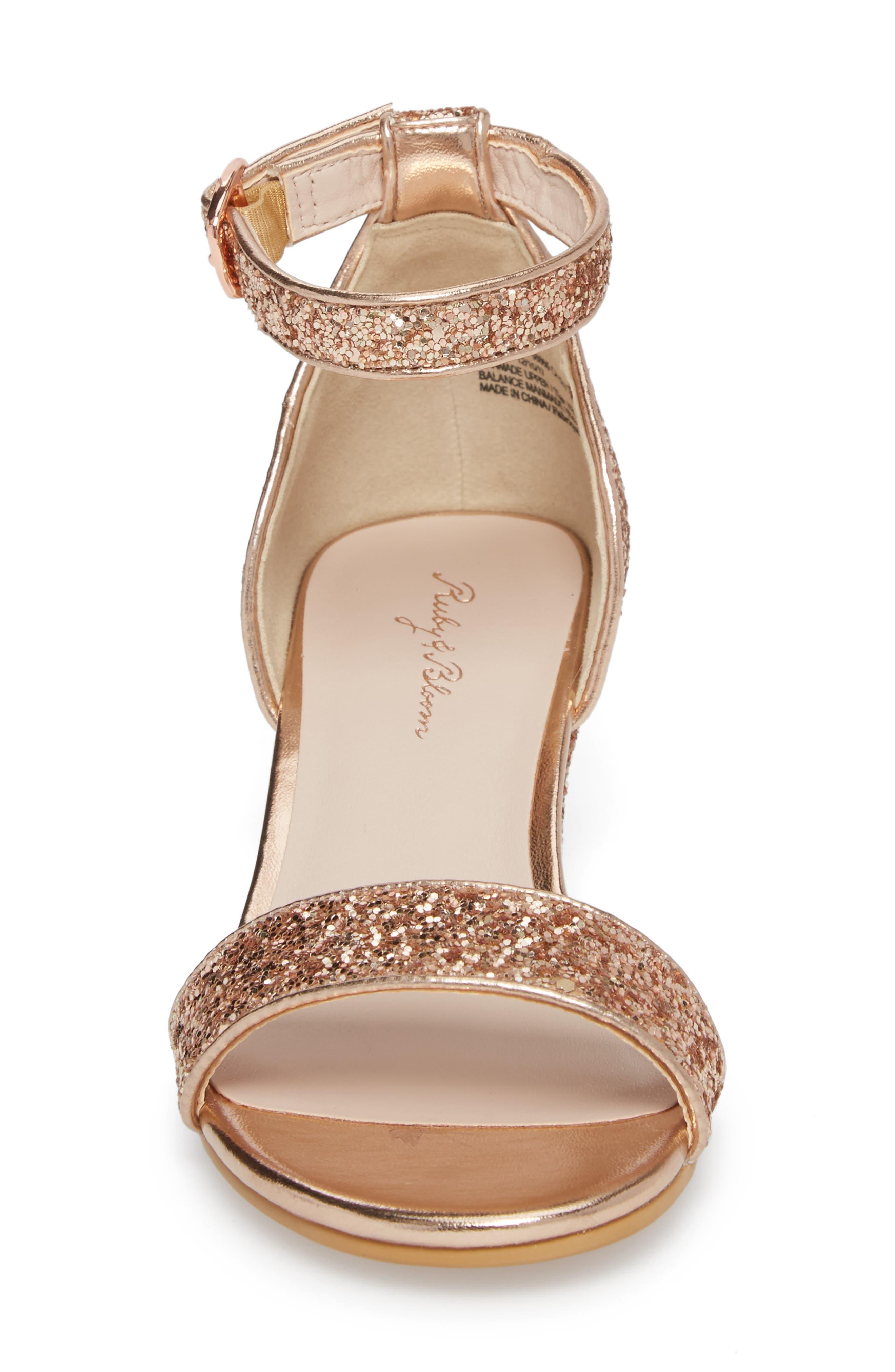 Remi Wedge Sandal,                             Alternate thumbnail 4, color,                             Rose Gold Glitter