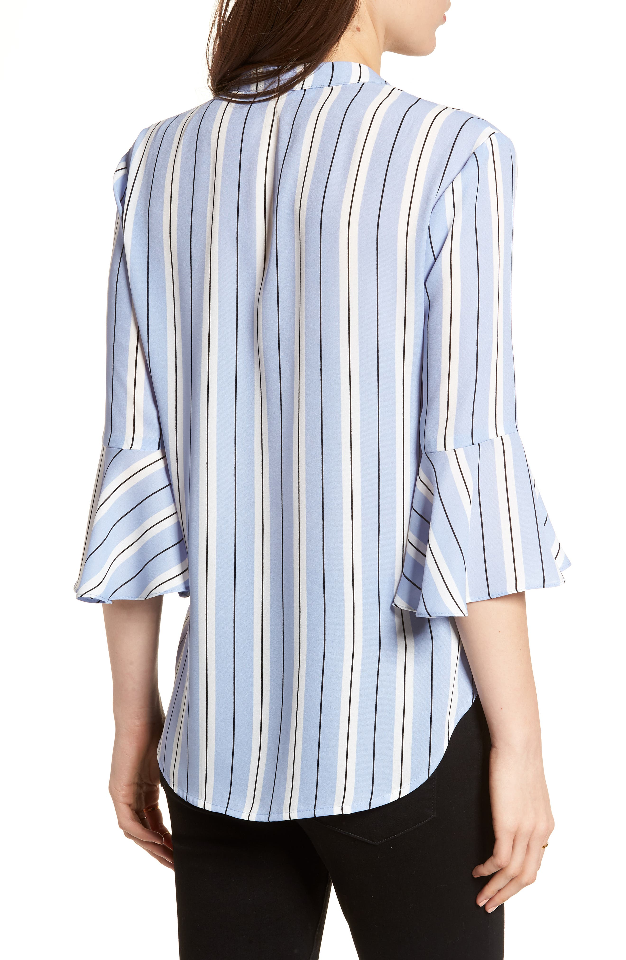Print Bell Sleeve Shirt,                             Alternate thumbnail 2, color,                             Blue Black Stripes