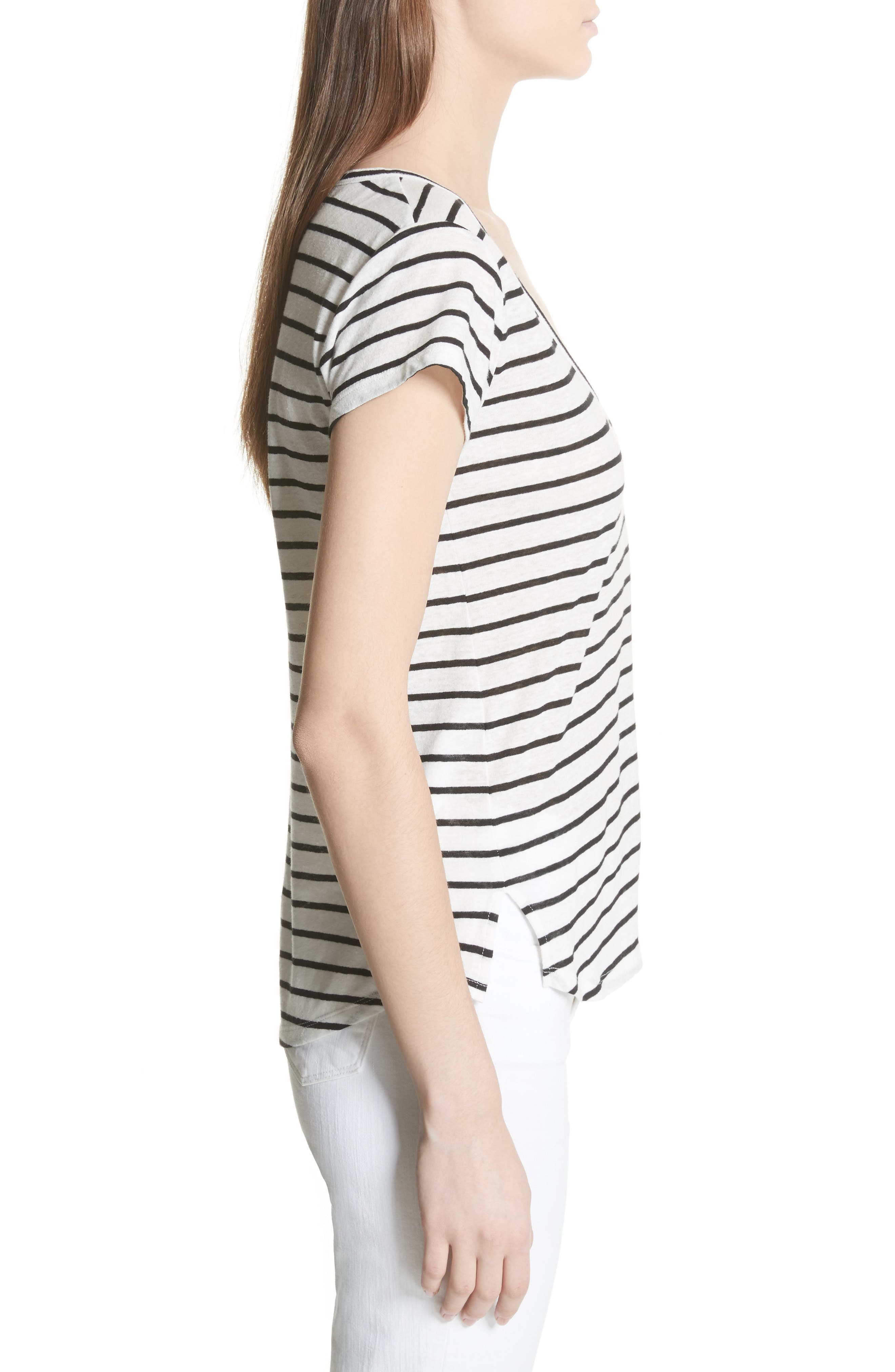 Navigate Stripe Linen Cotton Tee,                             Alternate thumbnail 3, color,                             White/ Black