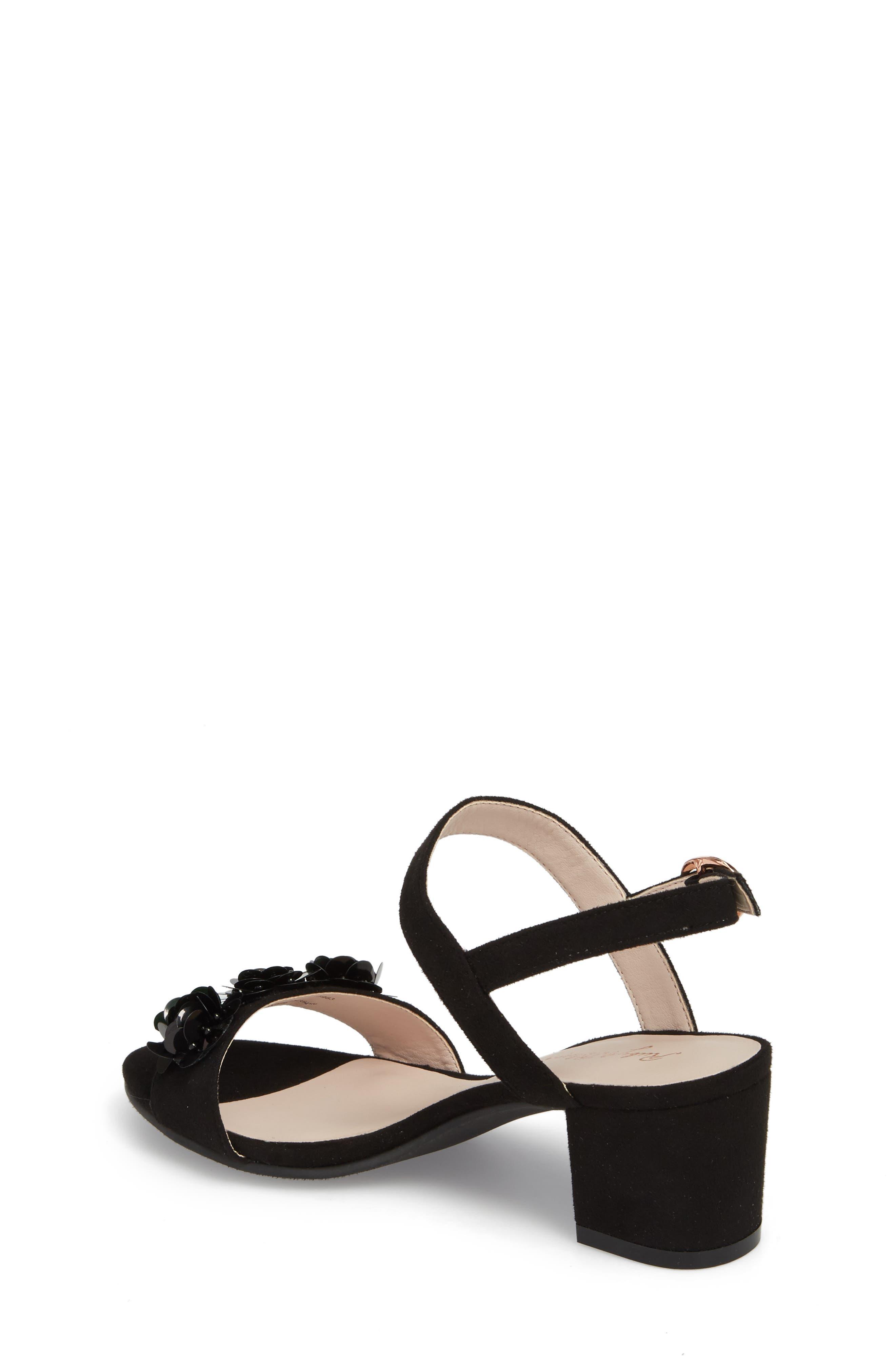 Dina Floral Embellished Sandal,                             Alternate thumbnail 2, color,                             Black Fabric