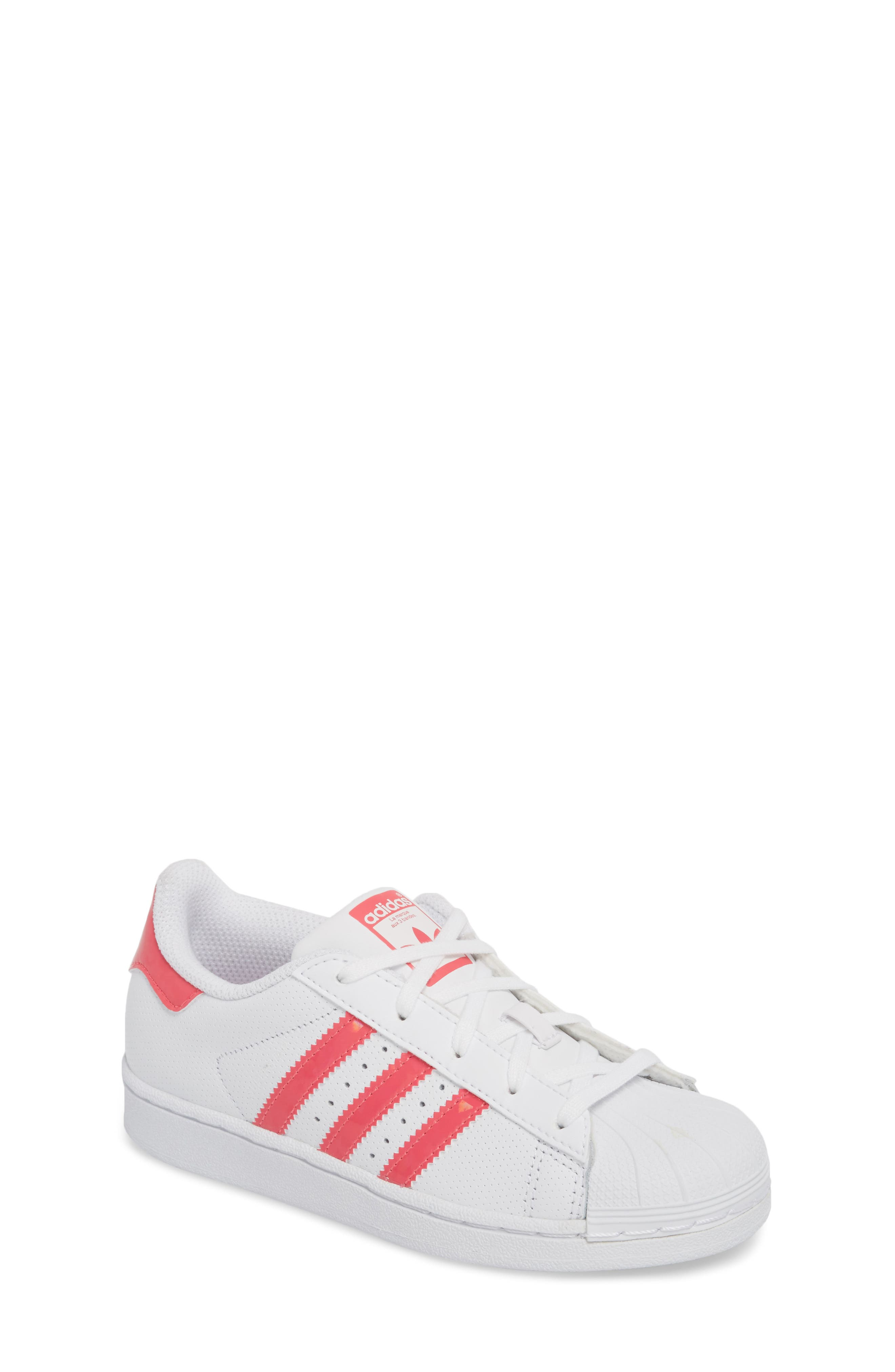 Superstar Perforated Low Top Sneaker,                             Main thumbnail 1, color,                             White / Real Pink / White