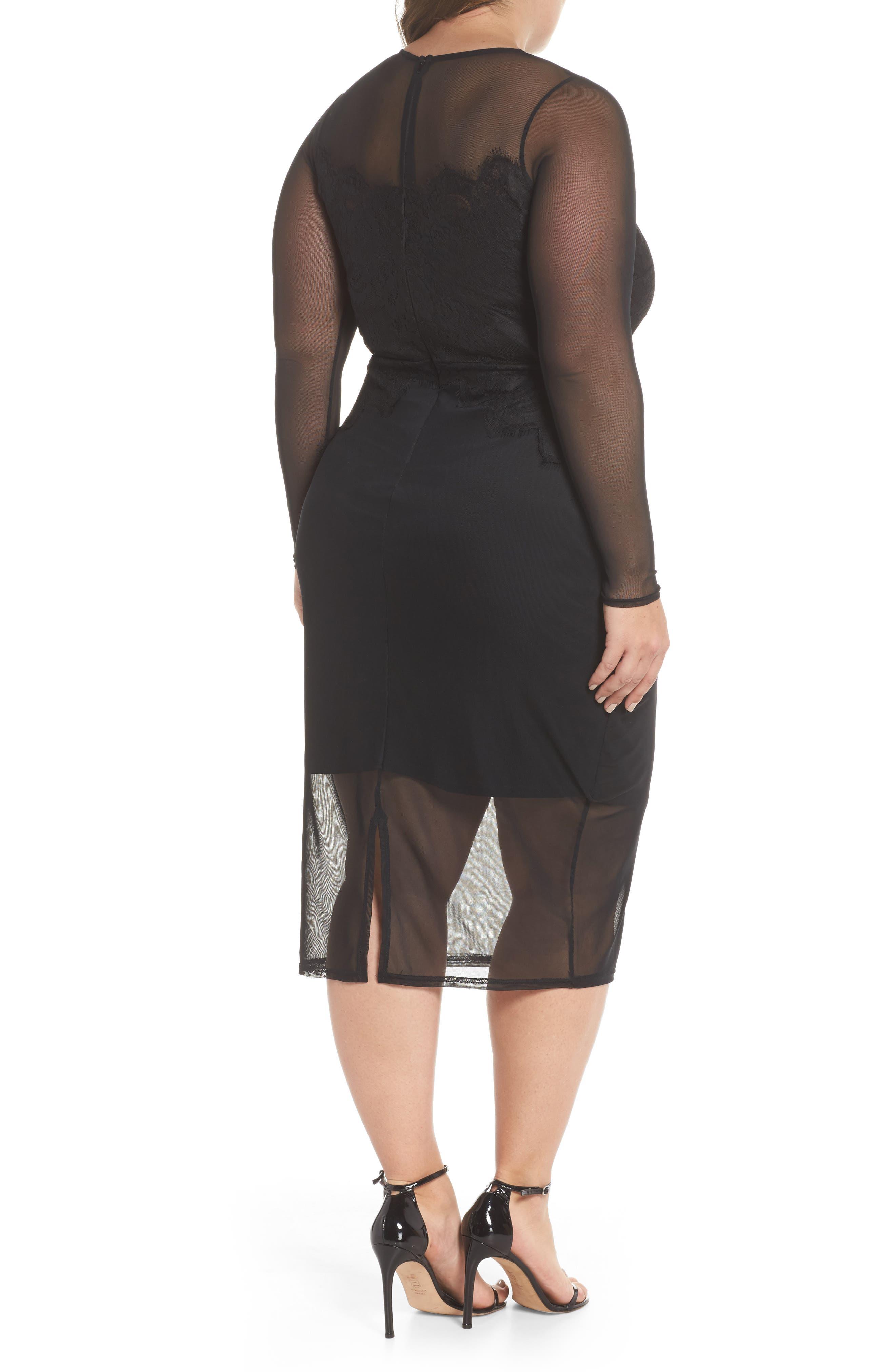 Body-Con Mesh Dress,                             Alternate thumbnail 2, color,                             Black