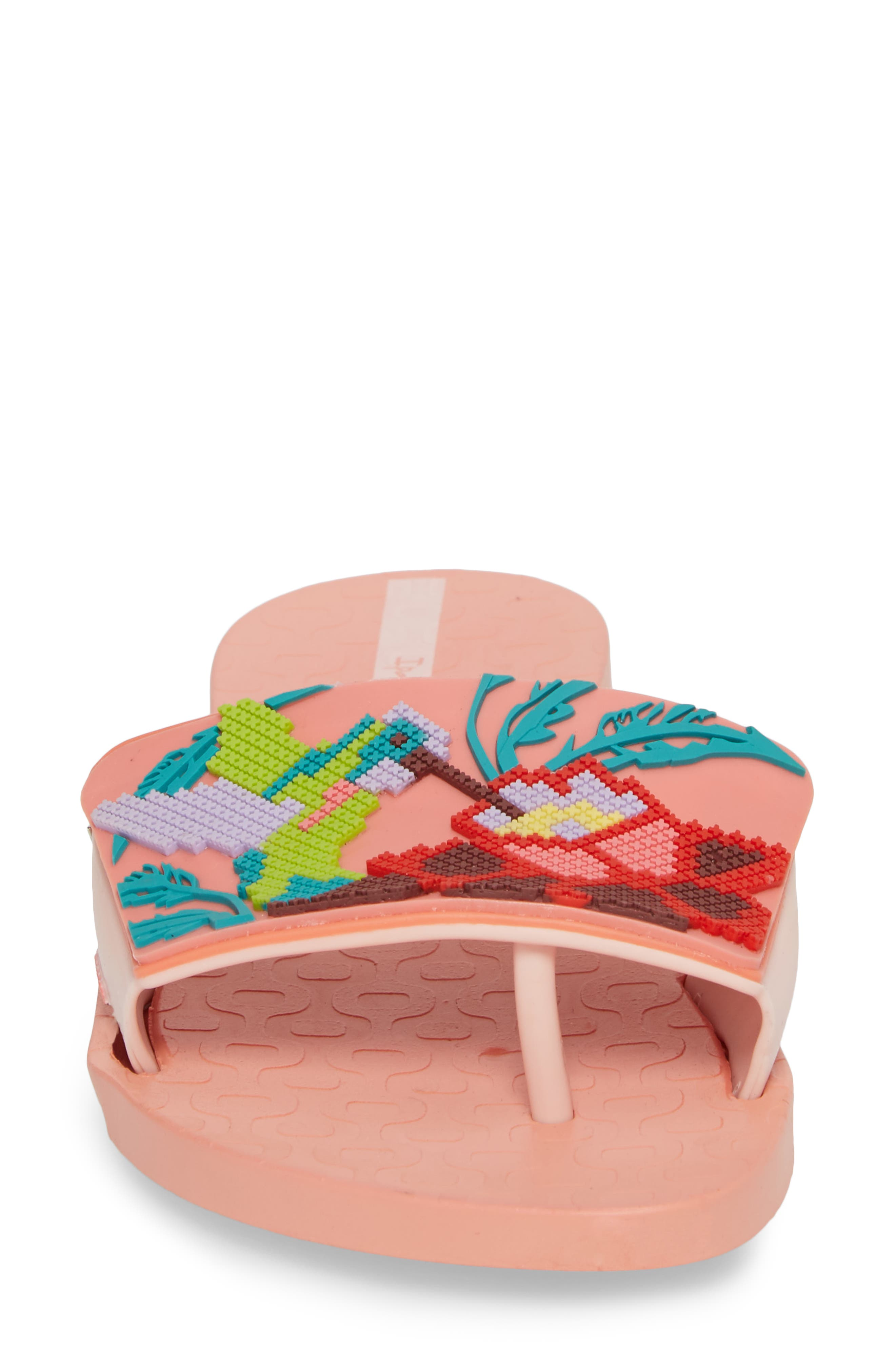 Nectar Floral Slide Sandal,                             Alternate thumbnail 4, color,                             Orange/ Pink