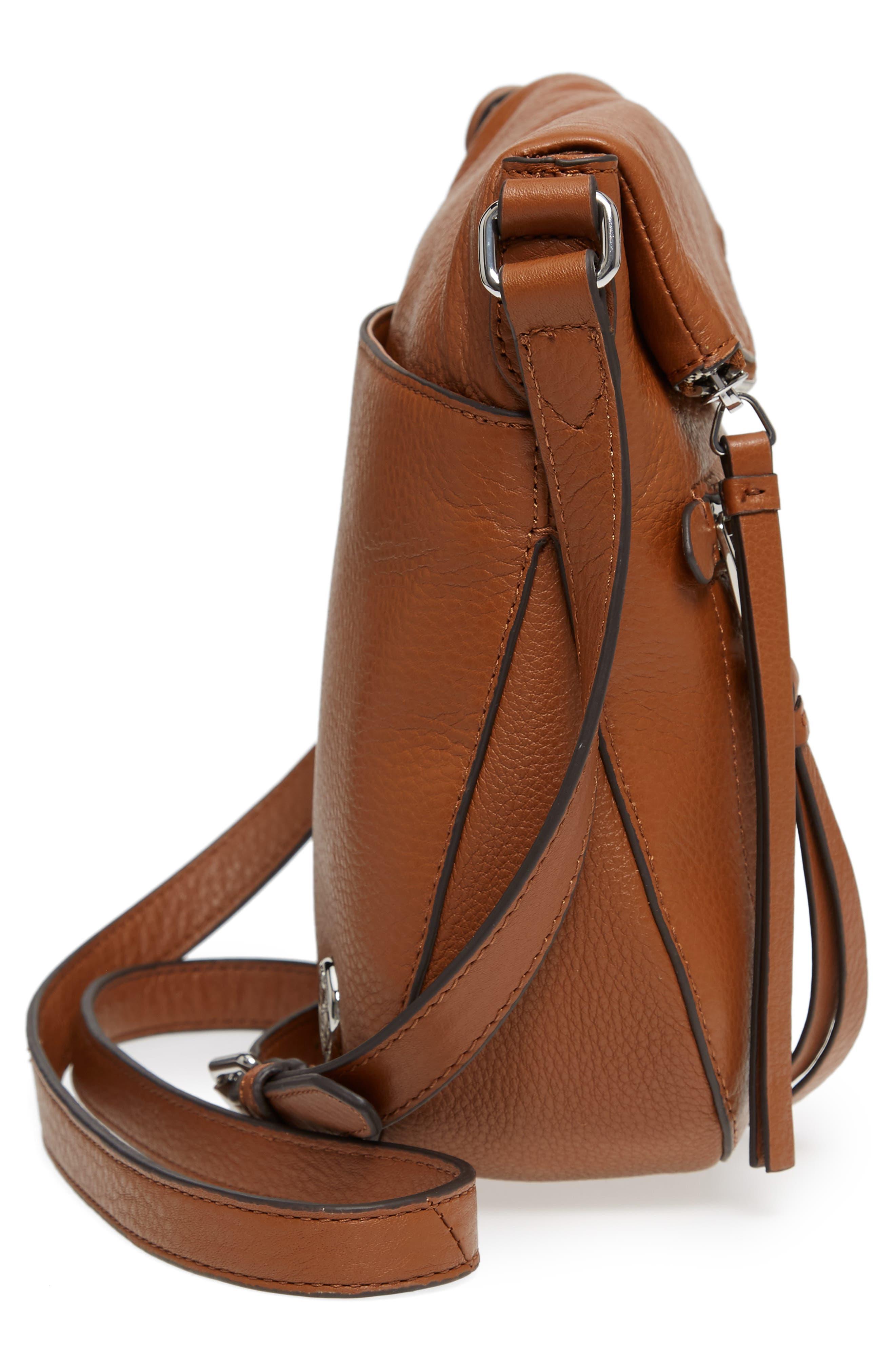 'Tala' Leather Crossbody Bag,                             Alternate thumbnail 6, color,                             Dark Rum