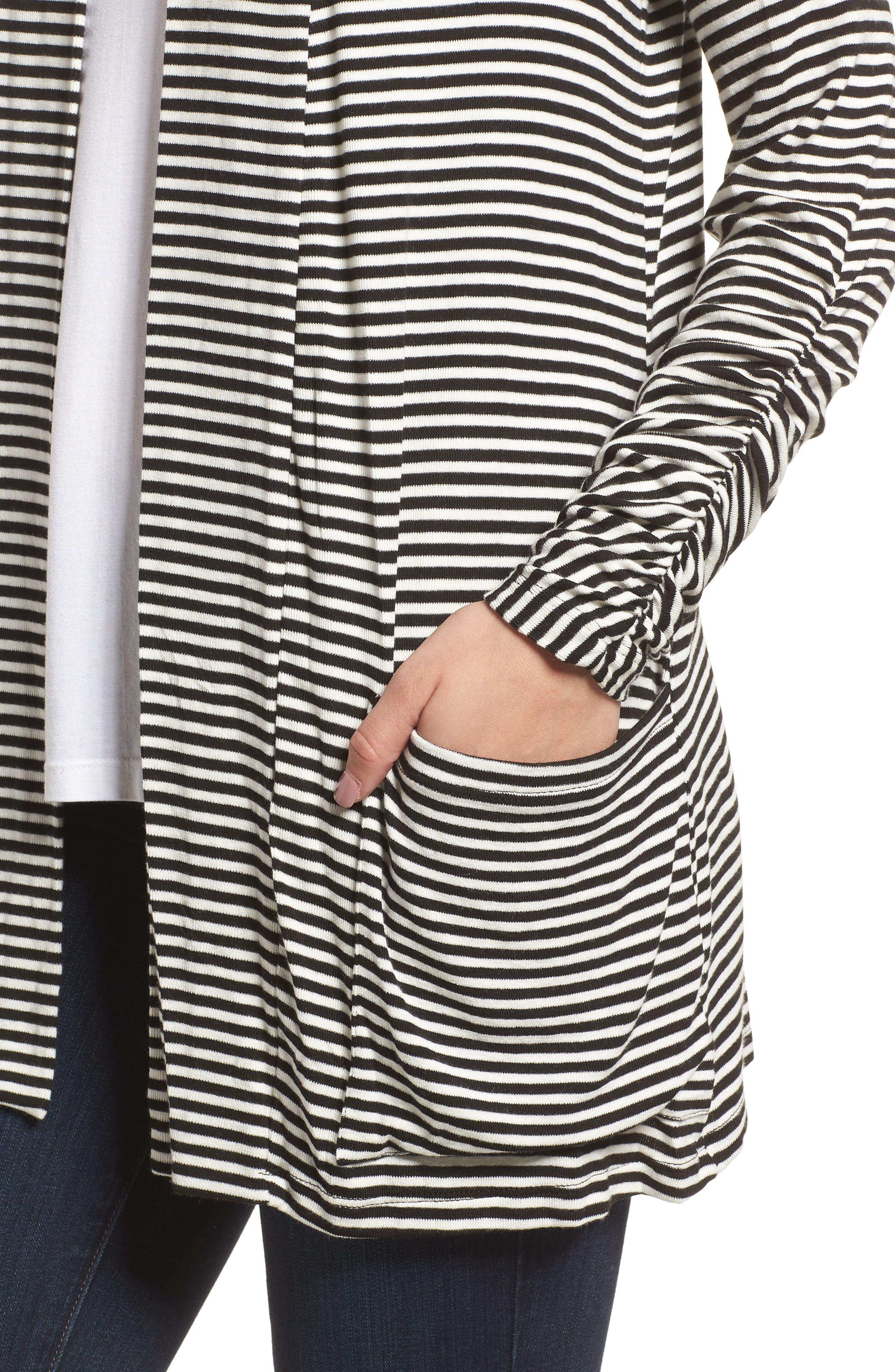 Ruched Sleeve Cardigan,                             Alternate thumbnail 4, color,                             Black/ White Stripe
