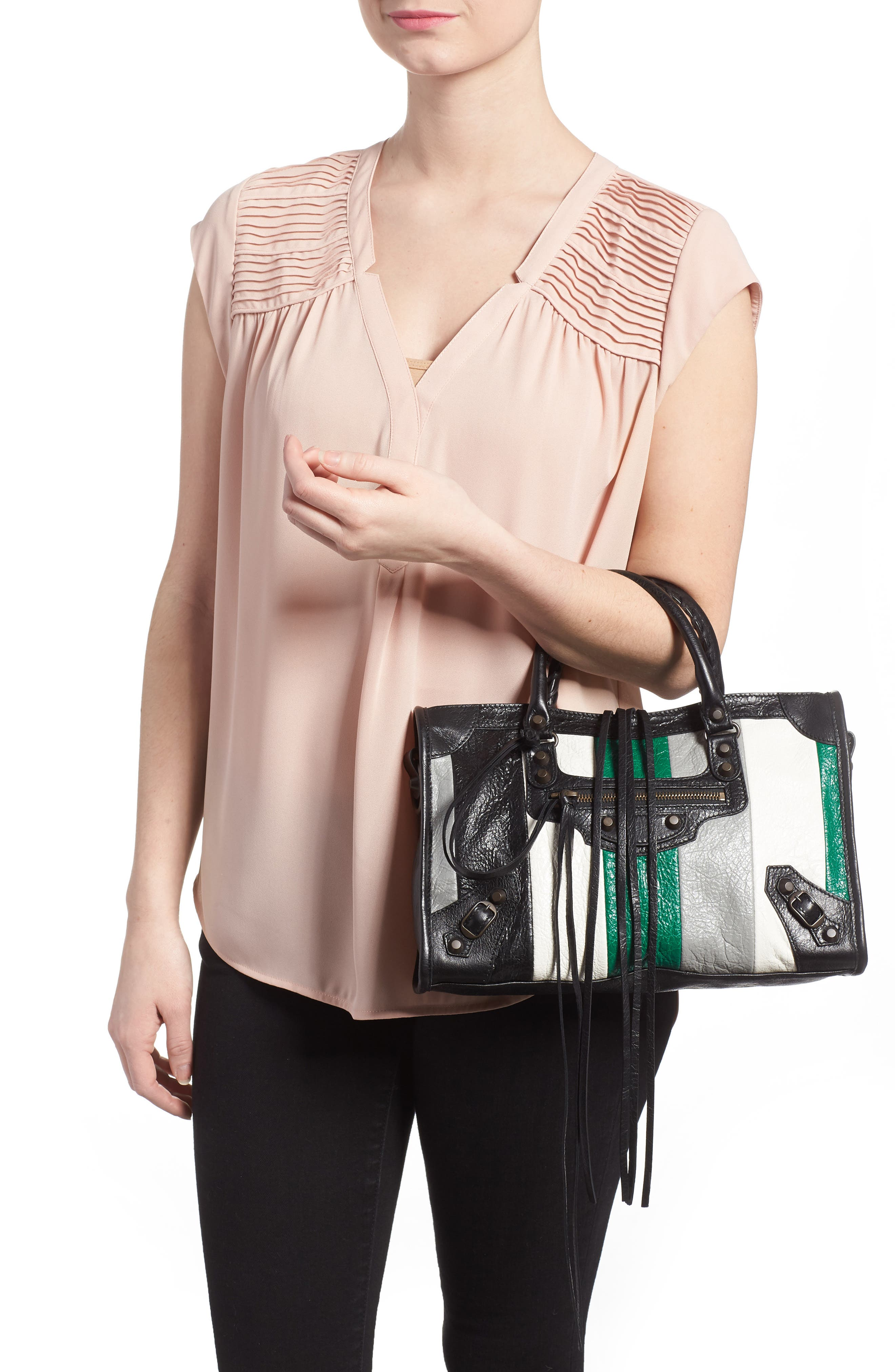 Small Classic City Leather Tote,                             Alternate thumbnail 2, color,                             Vert/ Gris Fossil/ Noir/ Blanc