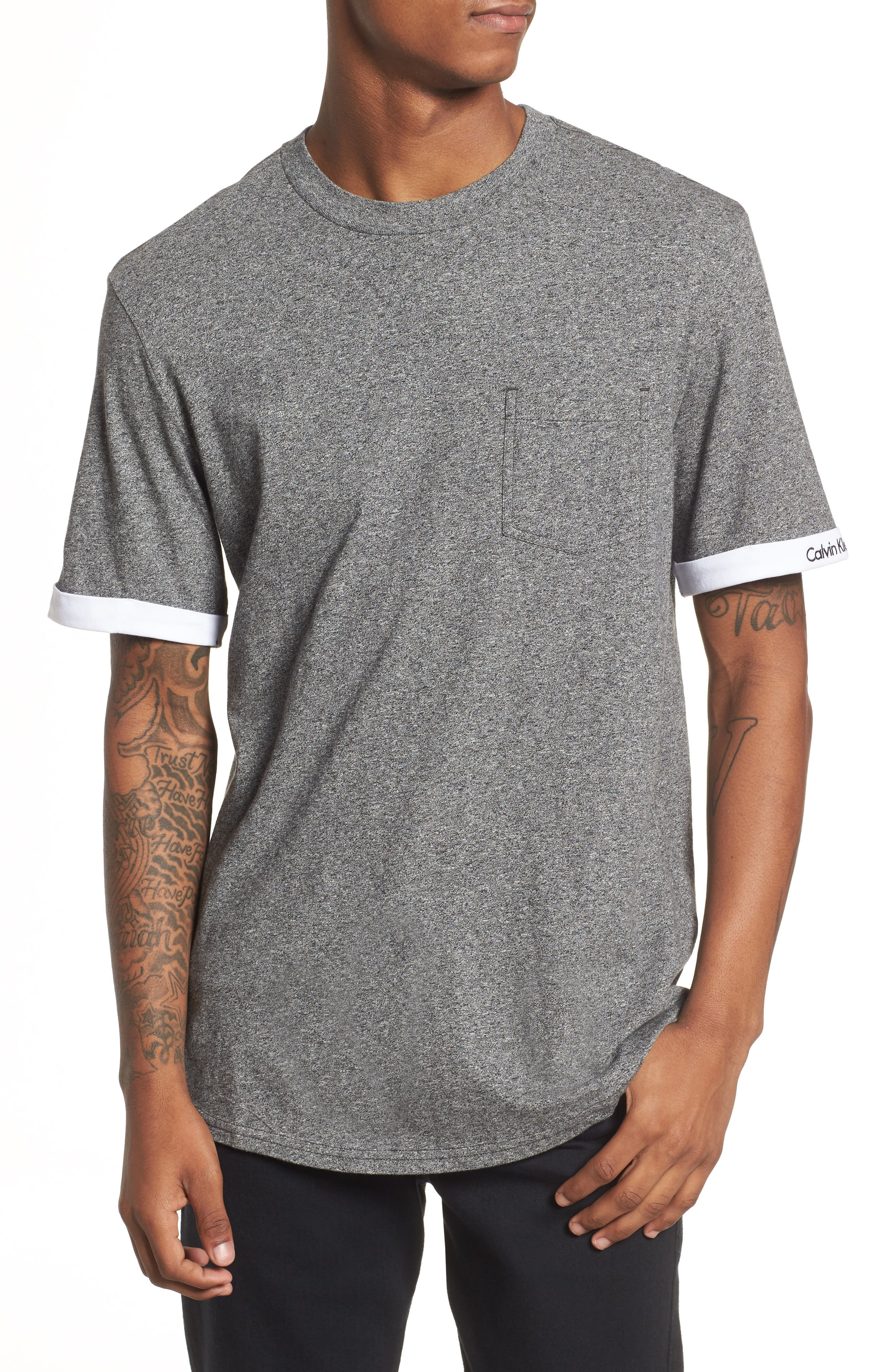 Rolled Cuff Pocket T-Shirt,                         Main,                         color, Granite Heather