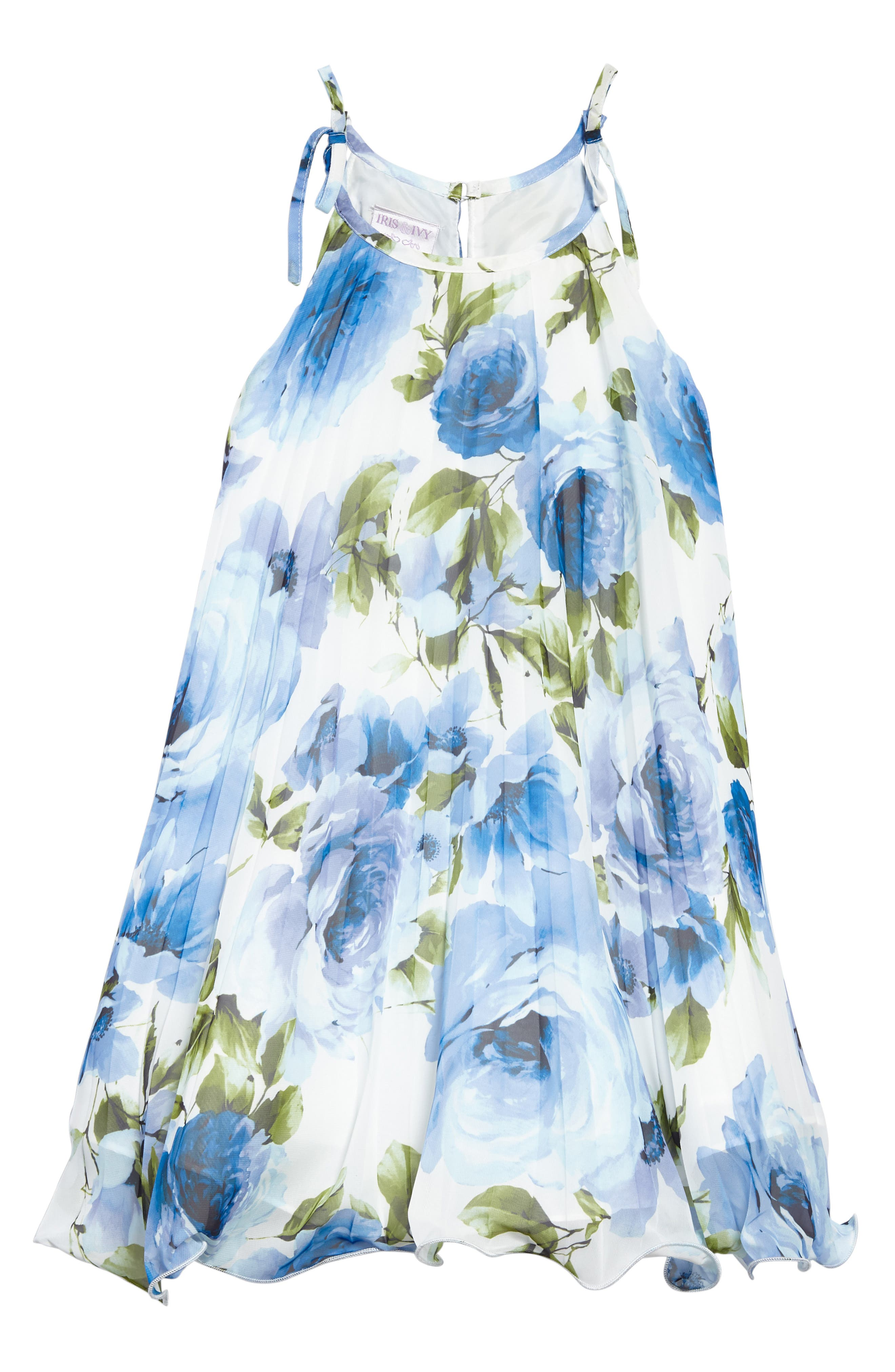 Crystal Pleat Floral Dress,                             Main thumbnail 1, color,                             Blue