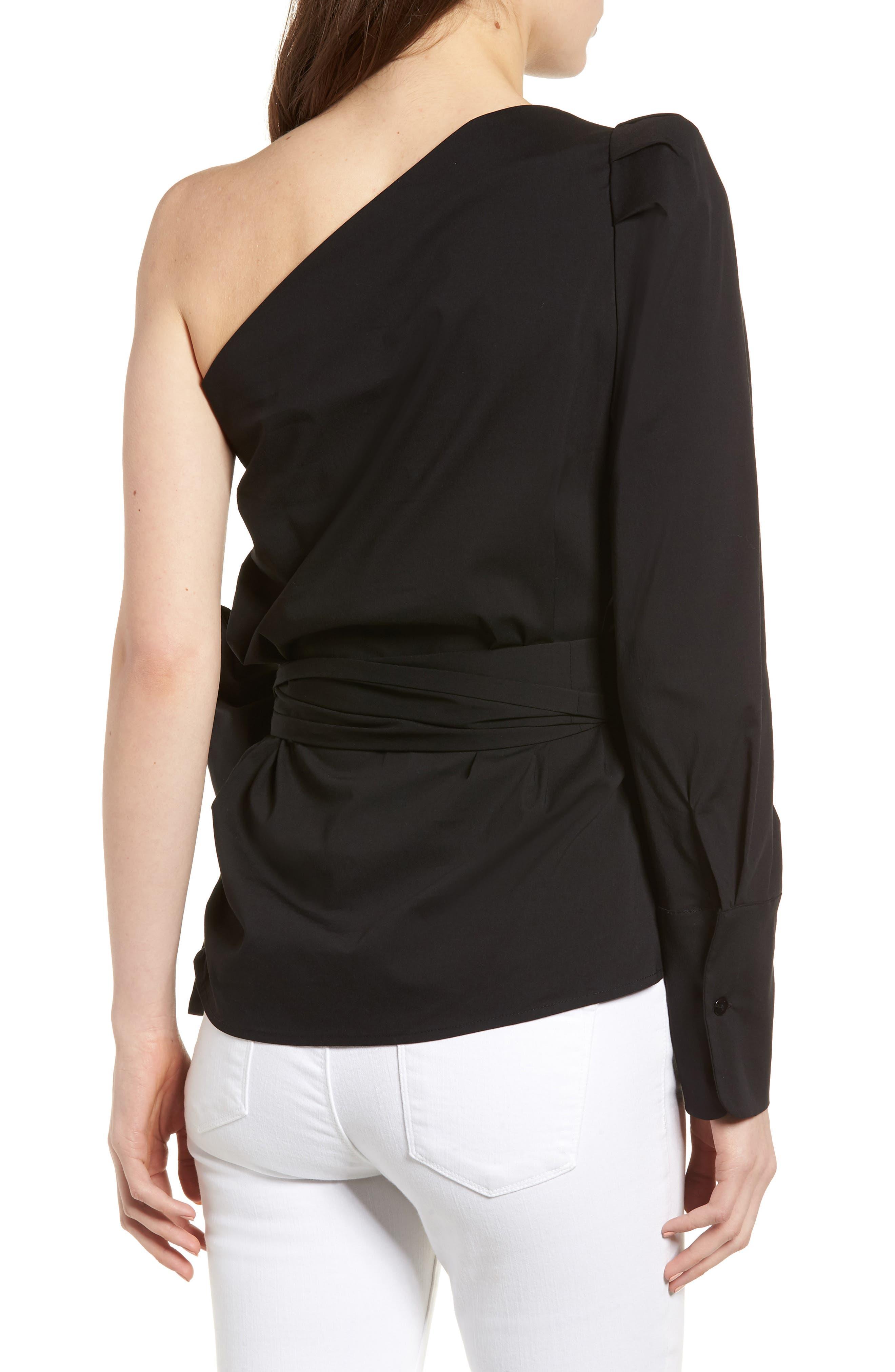 Bishop + Young Belted One-Shoulder Blouse,                             Alternate thumbnail 2, color,                             Black