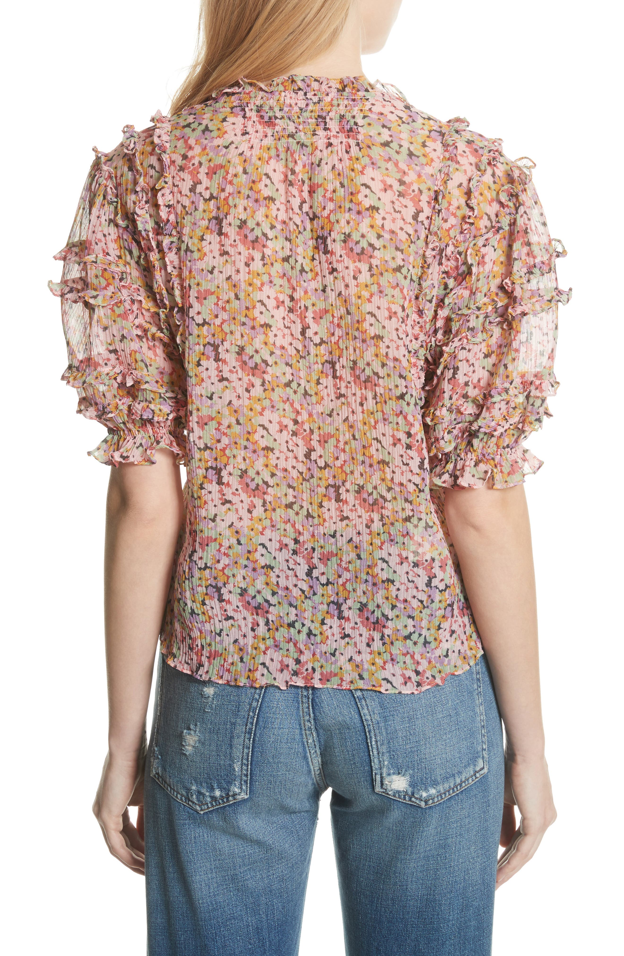 Margo Ruffle Floral Top,                             Alternate thumbnail 2, color,                             Multi Combo
