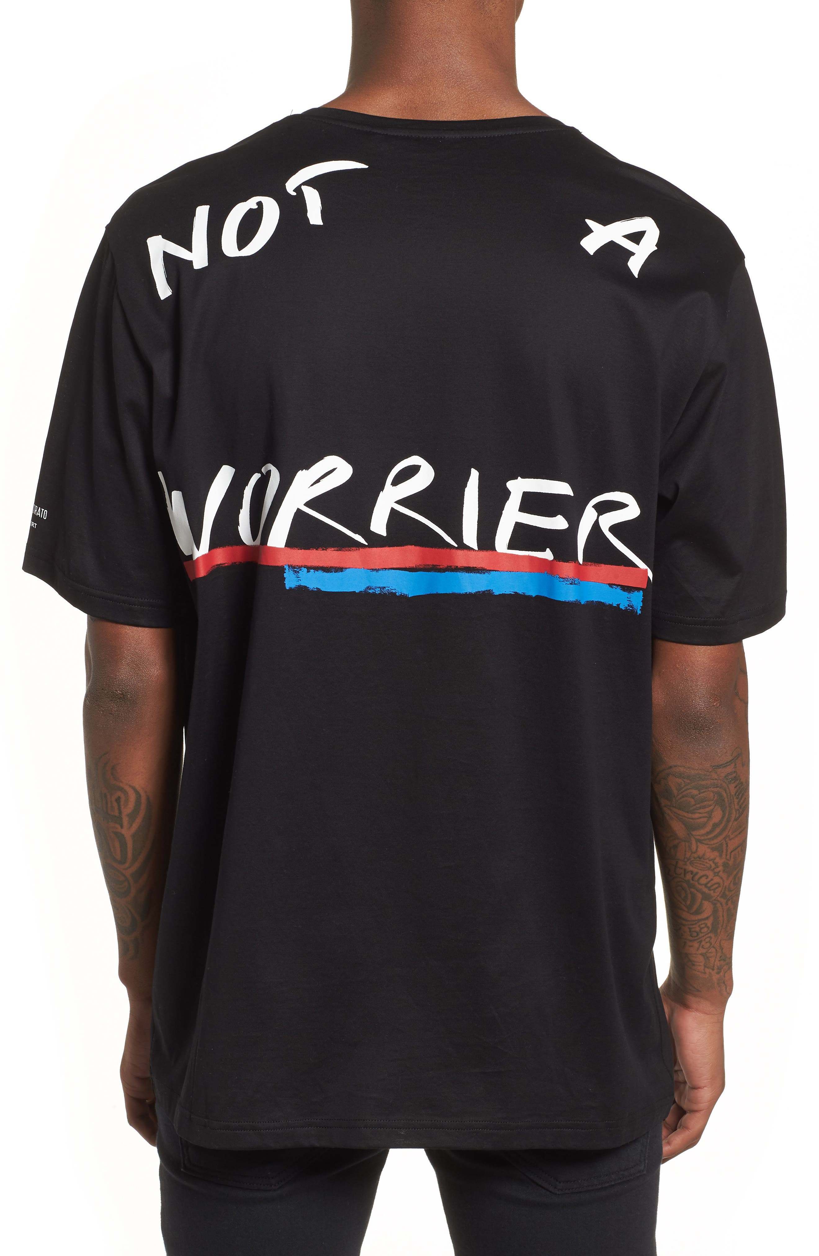 Be Warrior Graphic T-Shirt,                             Alternate thumbnail 2, color,                             Black