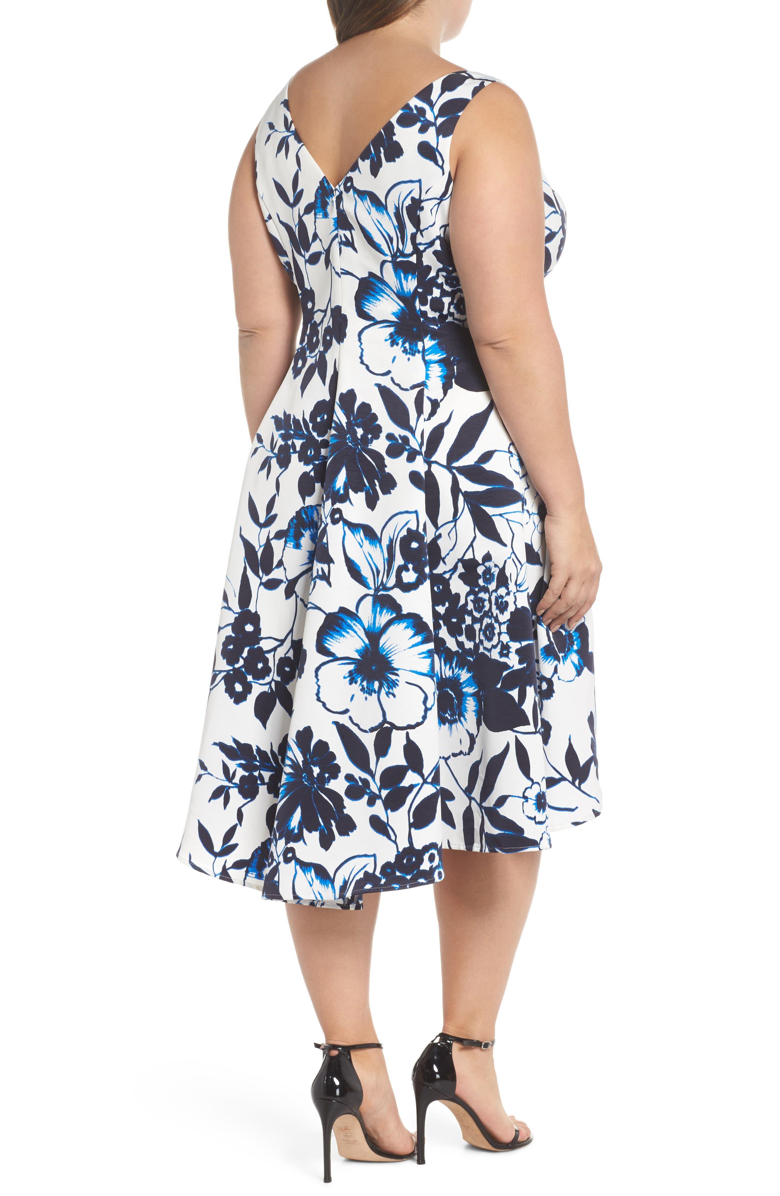 Asymmetric Hem Fit & Flare Dress,                             Alternate thumbnail 2, color,                             Navy/ Ivory