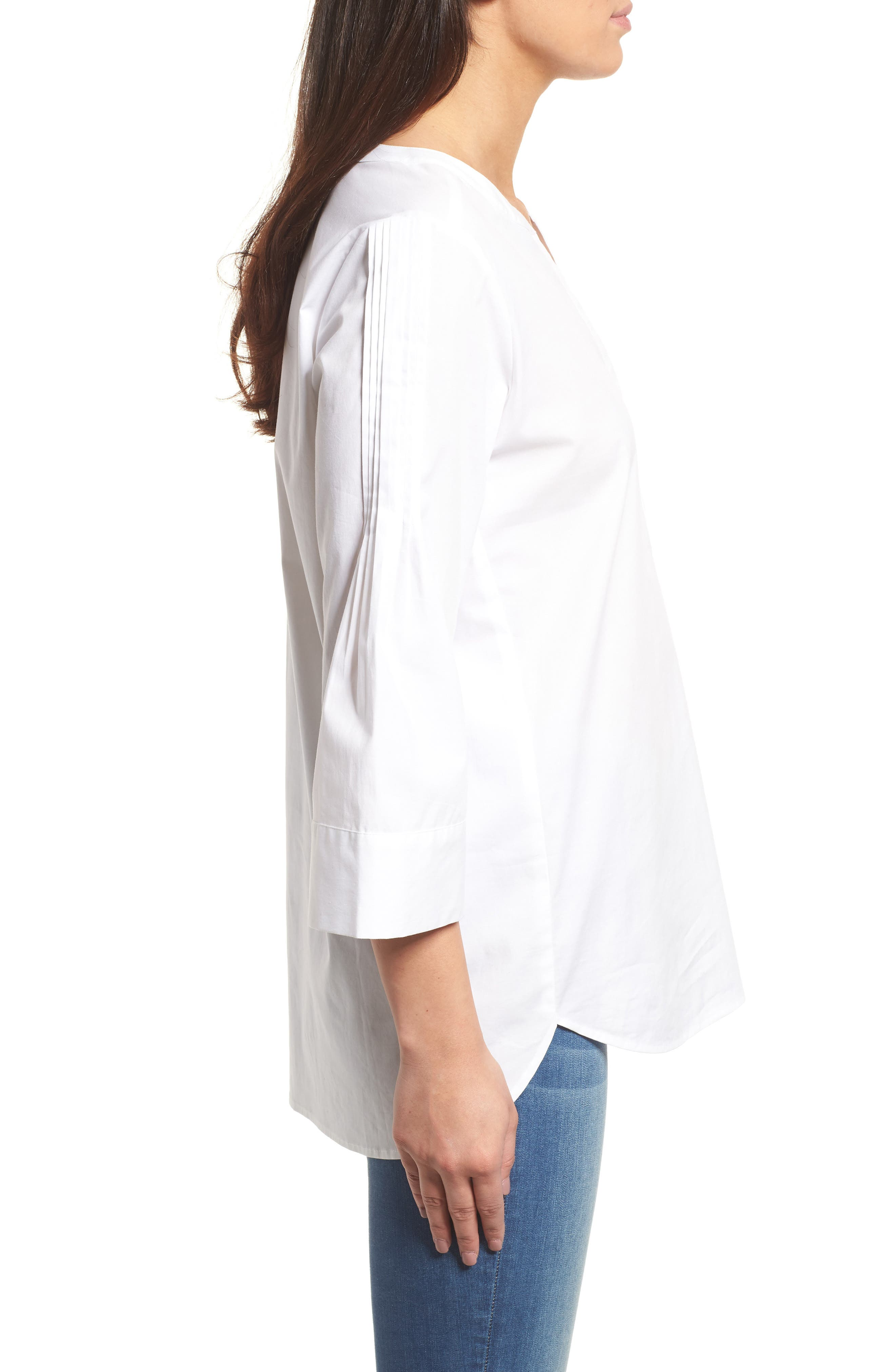 Split Neck Stretch Cotton Blouse,                             Alternate thumbnail 3, color,                             145-Ultra White