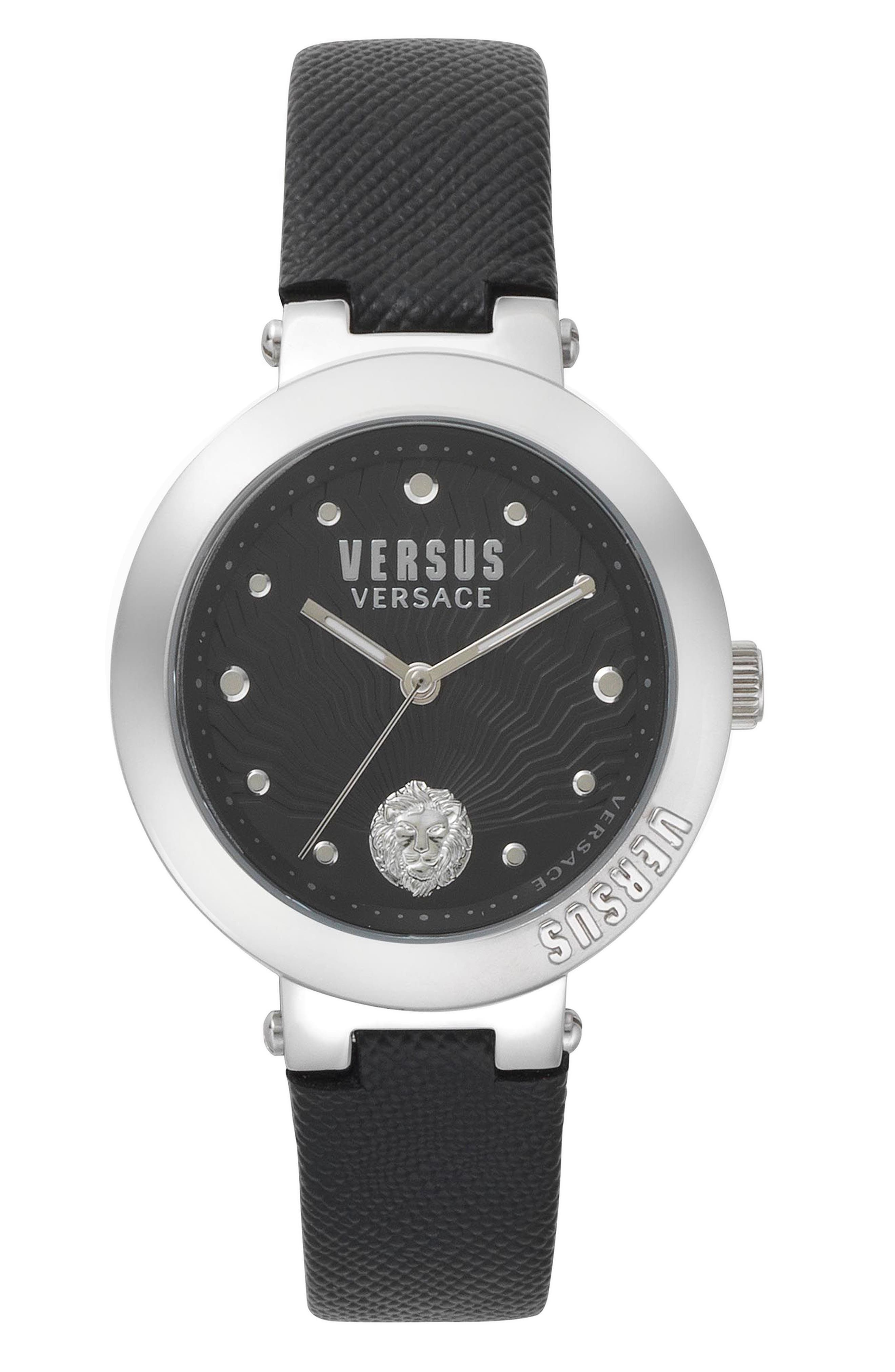 VERSUS by Versace Lantau Island Leather Strap Watch, 36mm,                             Main thumbnail 1, color,                             Black/ Silver