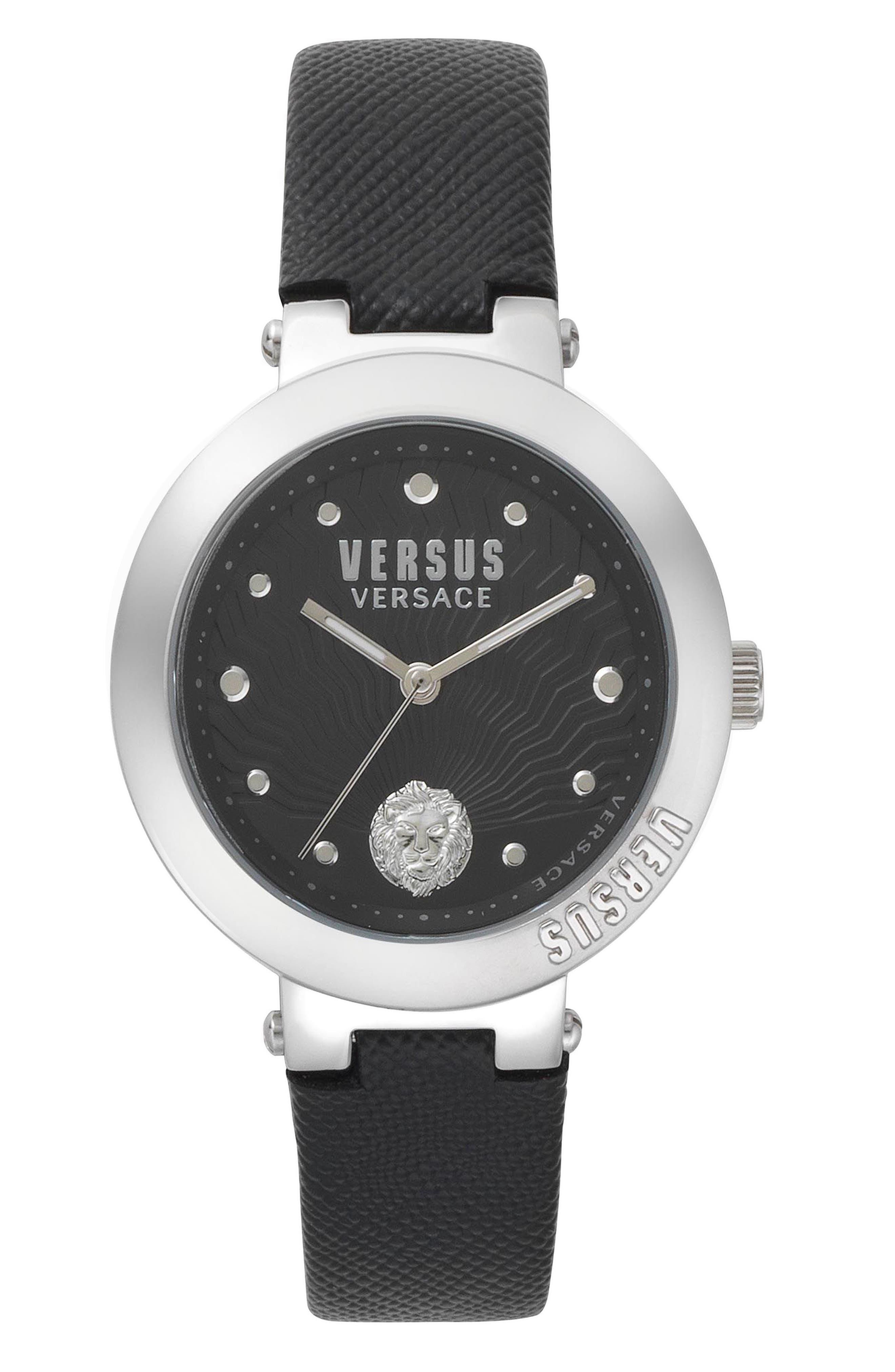 VERSUS by Versace Lantau Island Leather Strap Watch, 36mm,                         Main,                         color, Black/ Silver