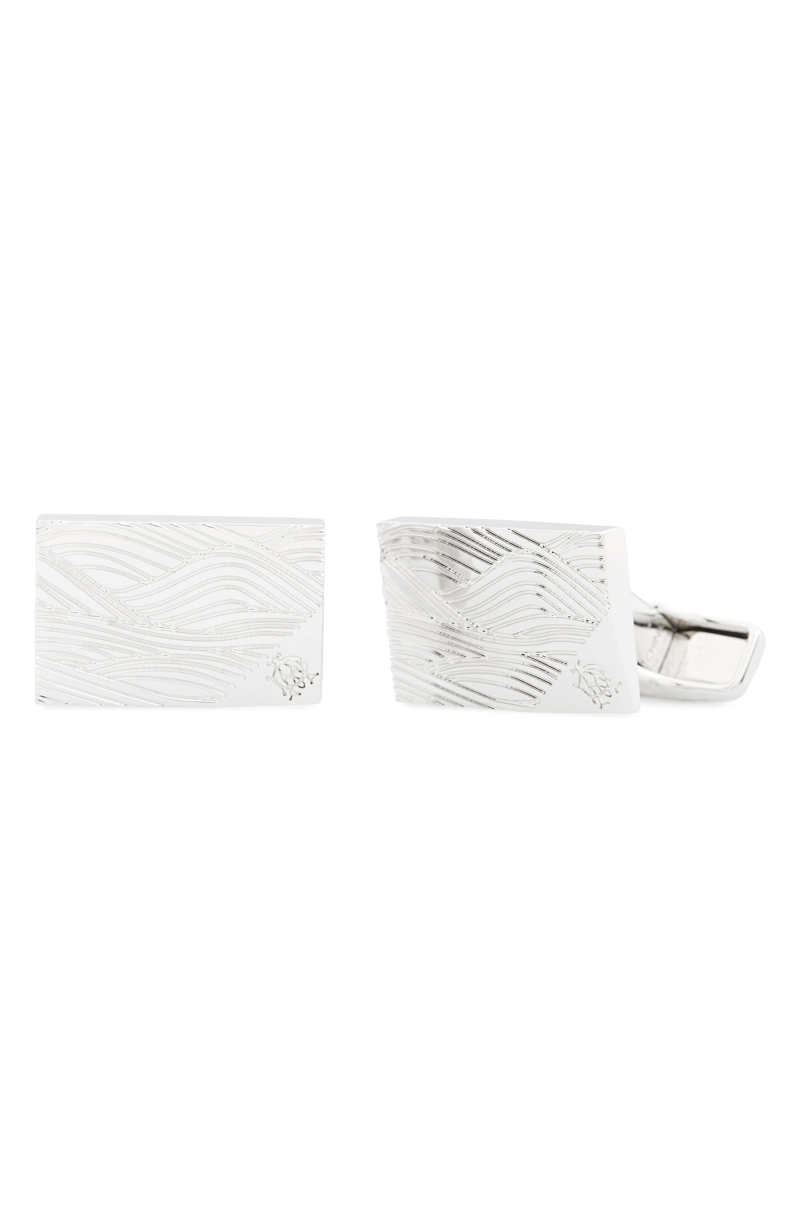 Wave Cuff Links,                             Main thumbnail 1, color,                             Silver