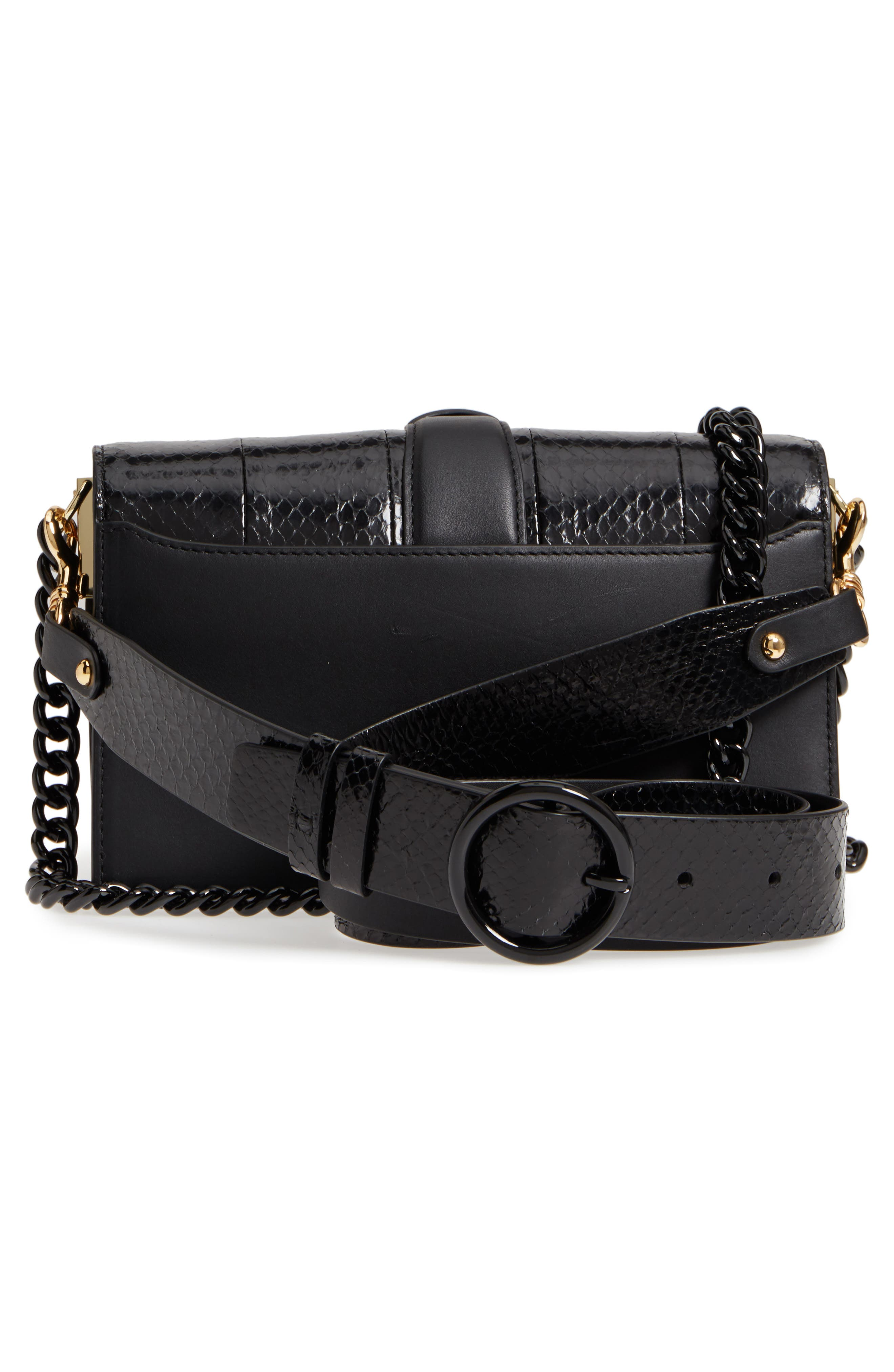 Bonne Journée Leather & Genuine Snakeskin Crossbody Bag,                             Alternate thumbnail 3, color,                             Black