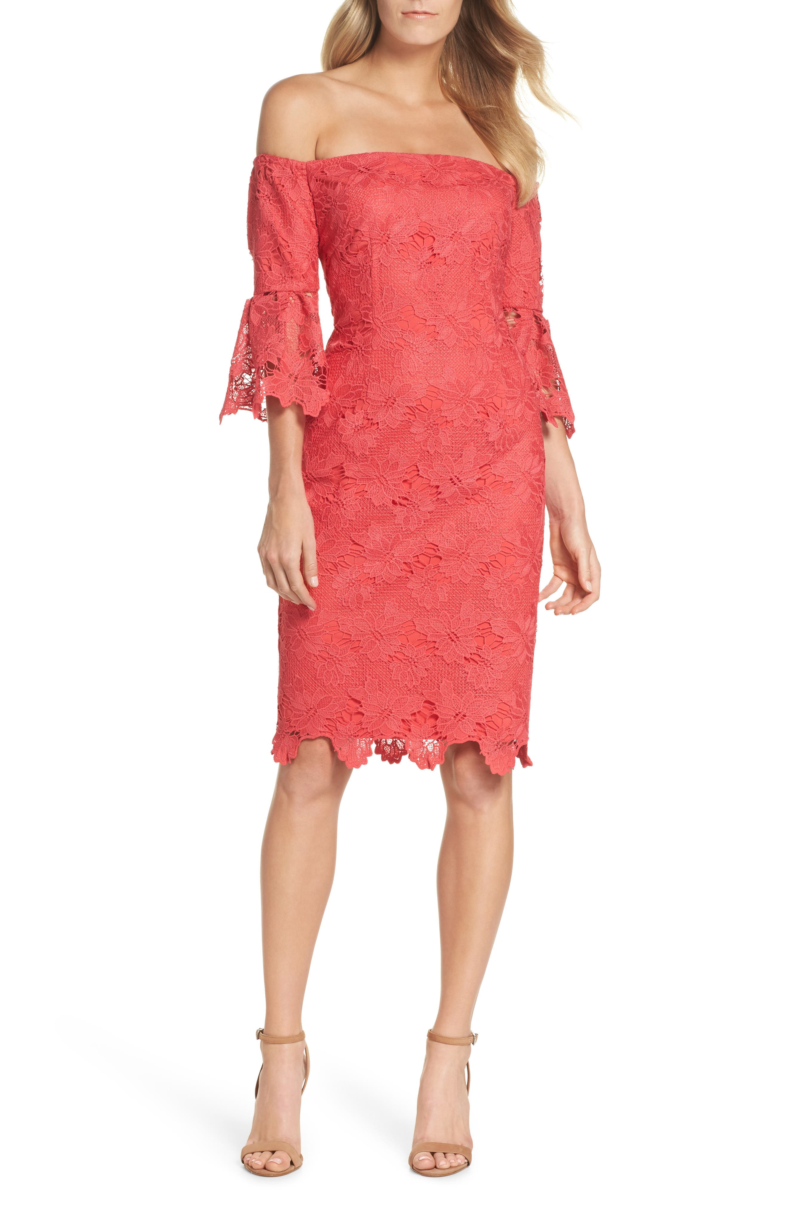 Poppy Off the Shoulder Lace Dress,                             Main thumbnail 1, color,                             Poppy