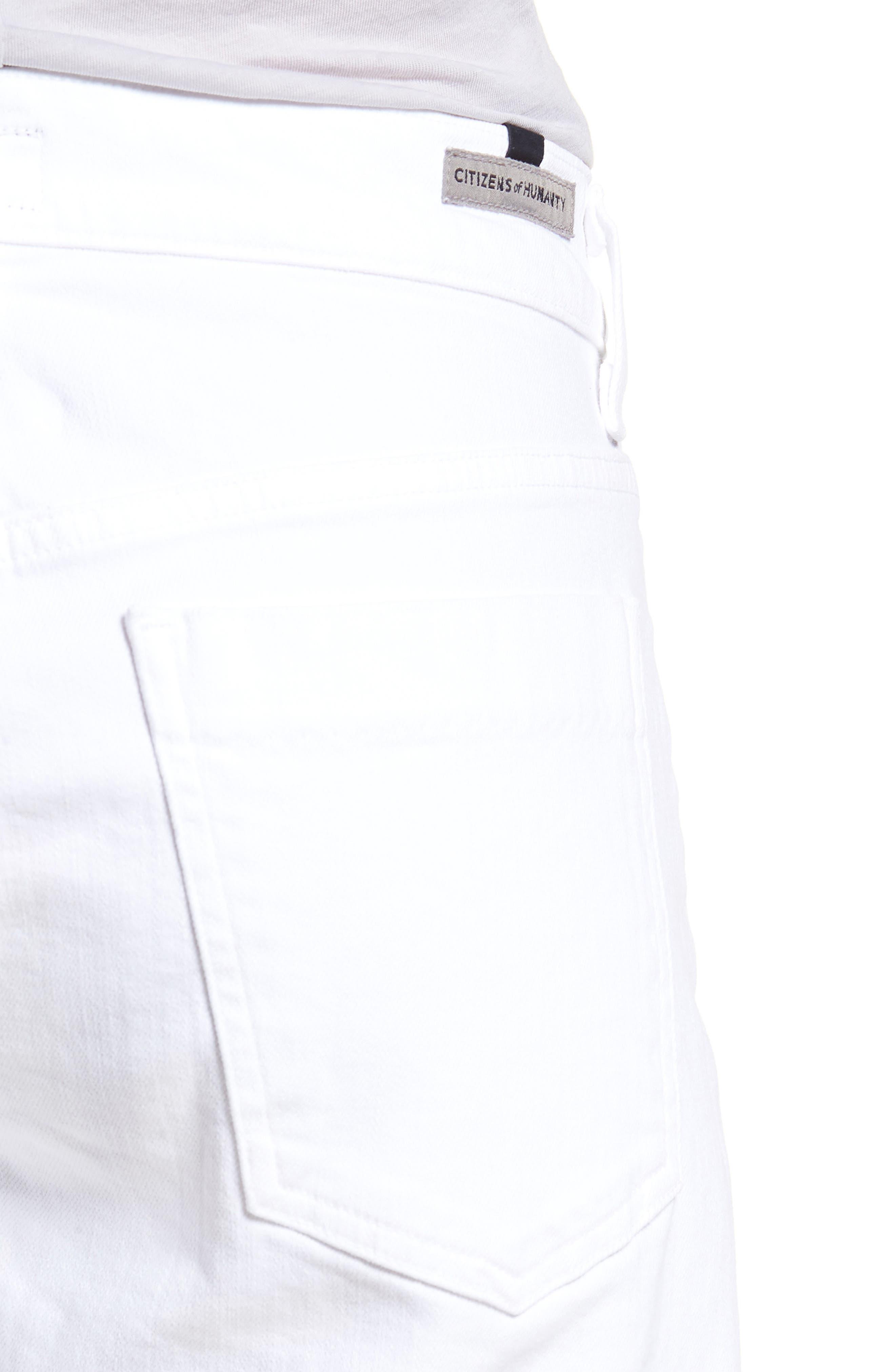 Skyler Denim Shorts,                             Alternate thumbnail 4, color,                             Optic White