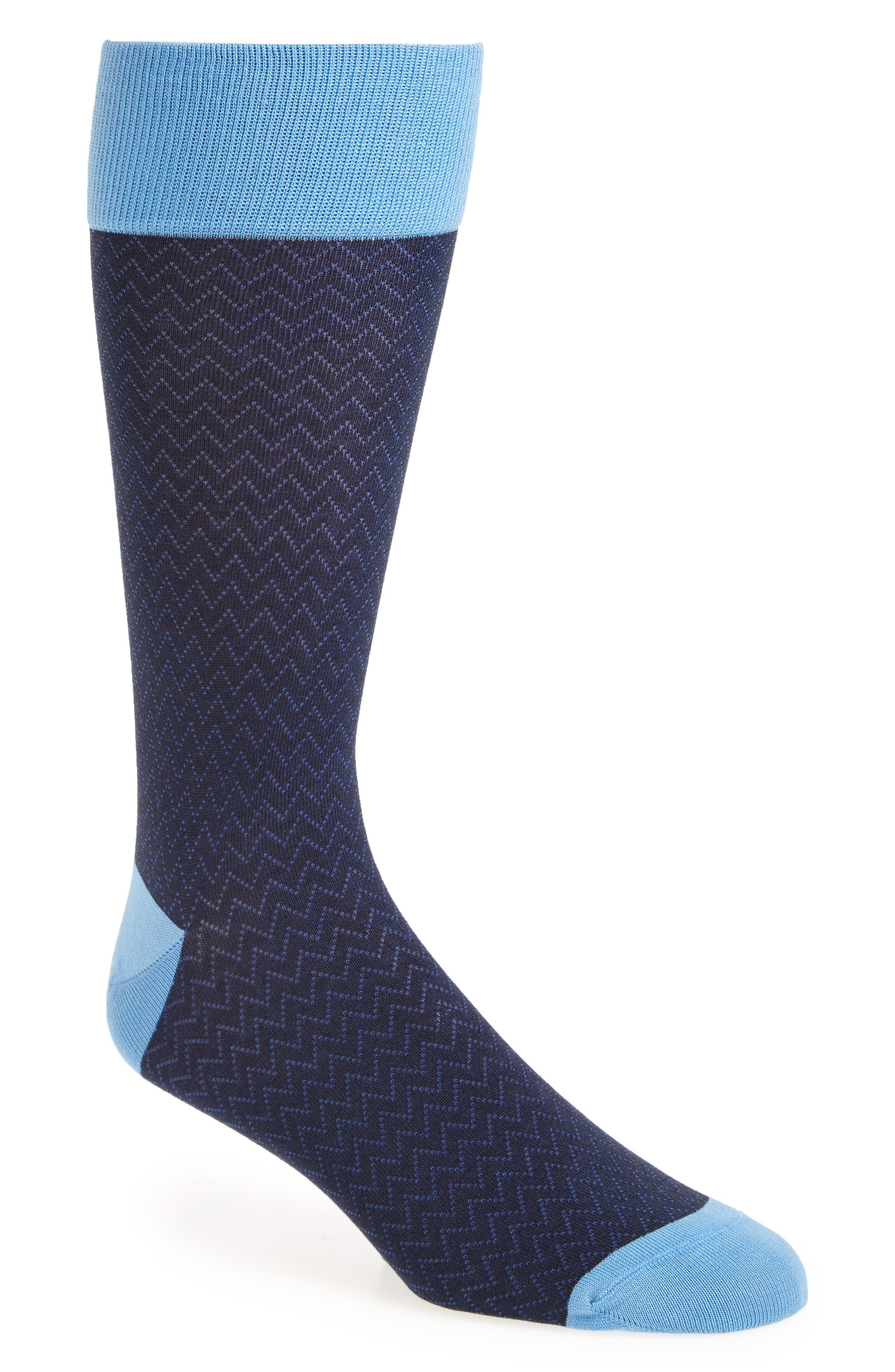 Mercerized Herringbone Socks,                         Main,                         color, Navy/ Blue