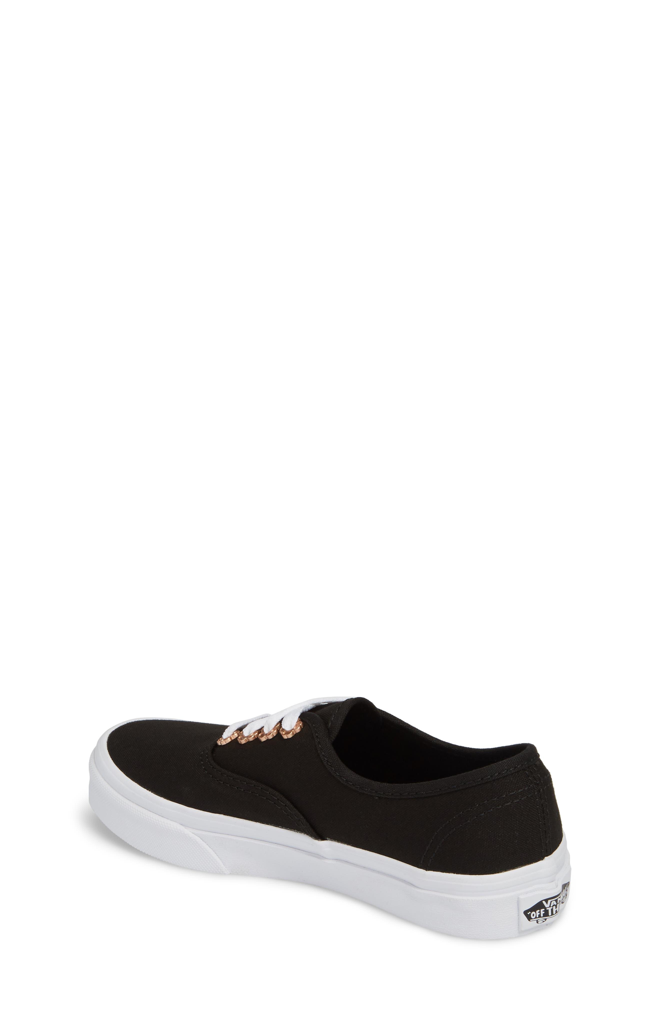 Authentic Sneaker,                             Alternate thumbnail 2, color,                             Black Flower Eyelet