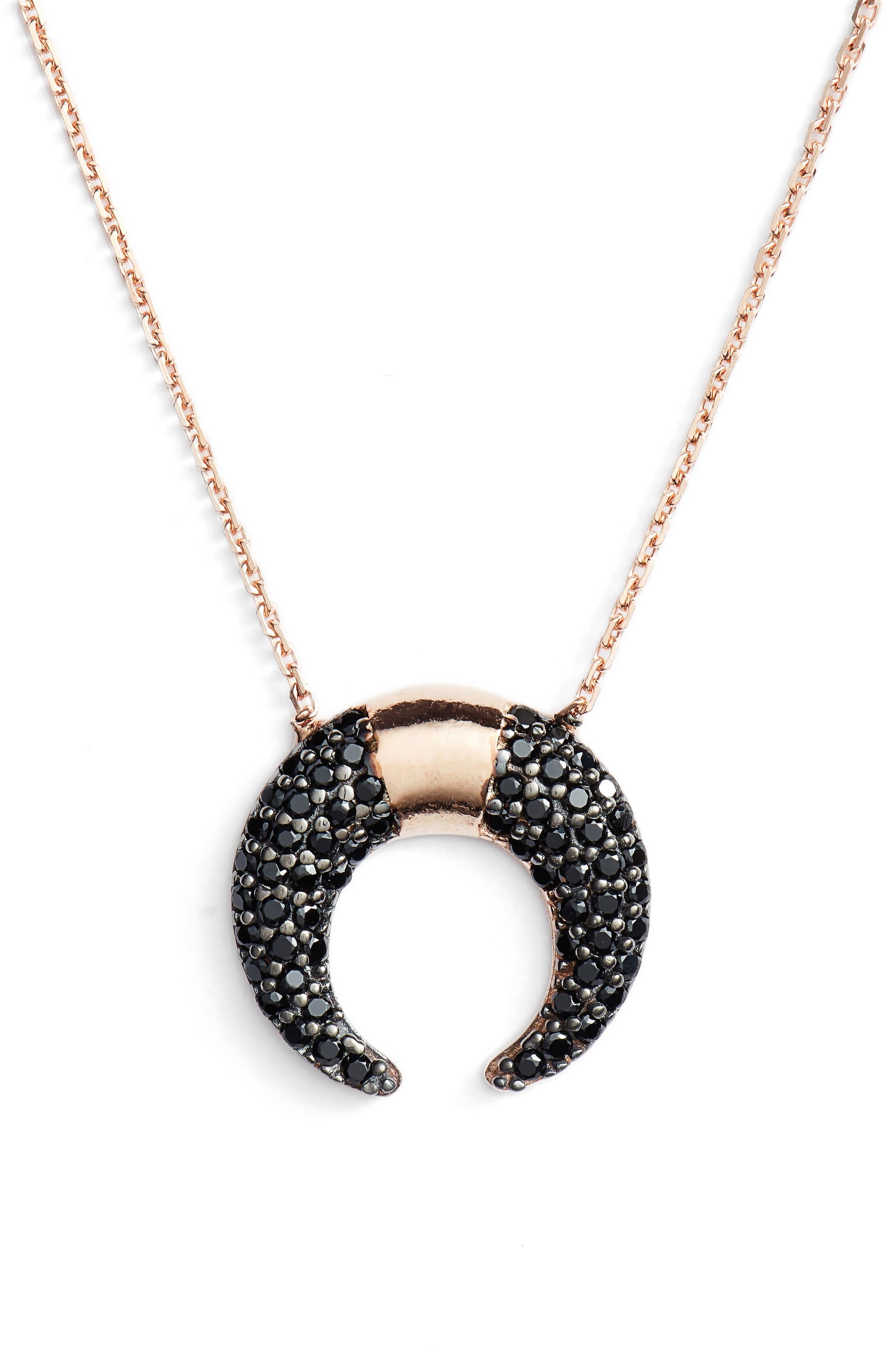 Crystal Crescent Pendant Necklace,                             Main thumbnail 1, color,                             Gunmetal