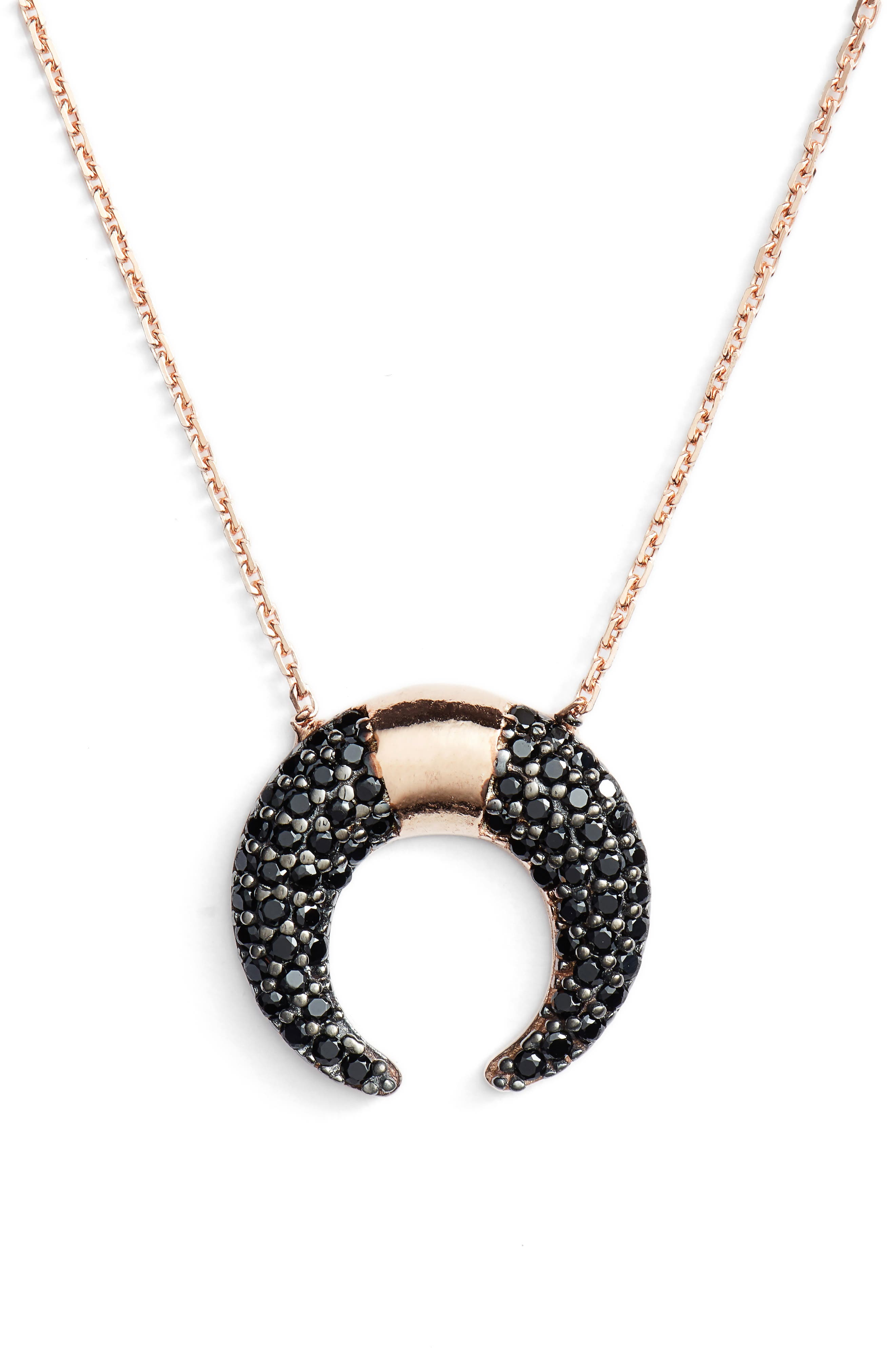 Crystal Crescent Pendant Necklace,                         Main,                         color, Gunmetal