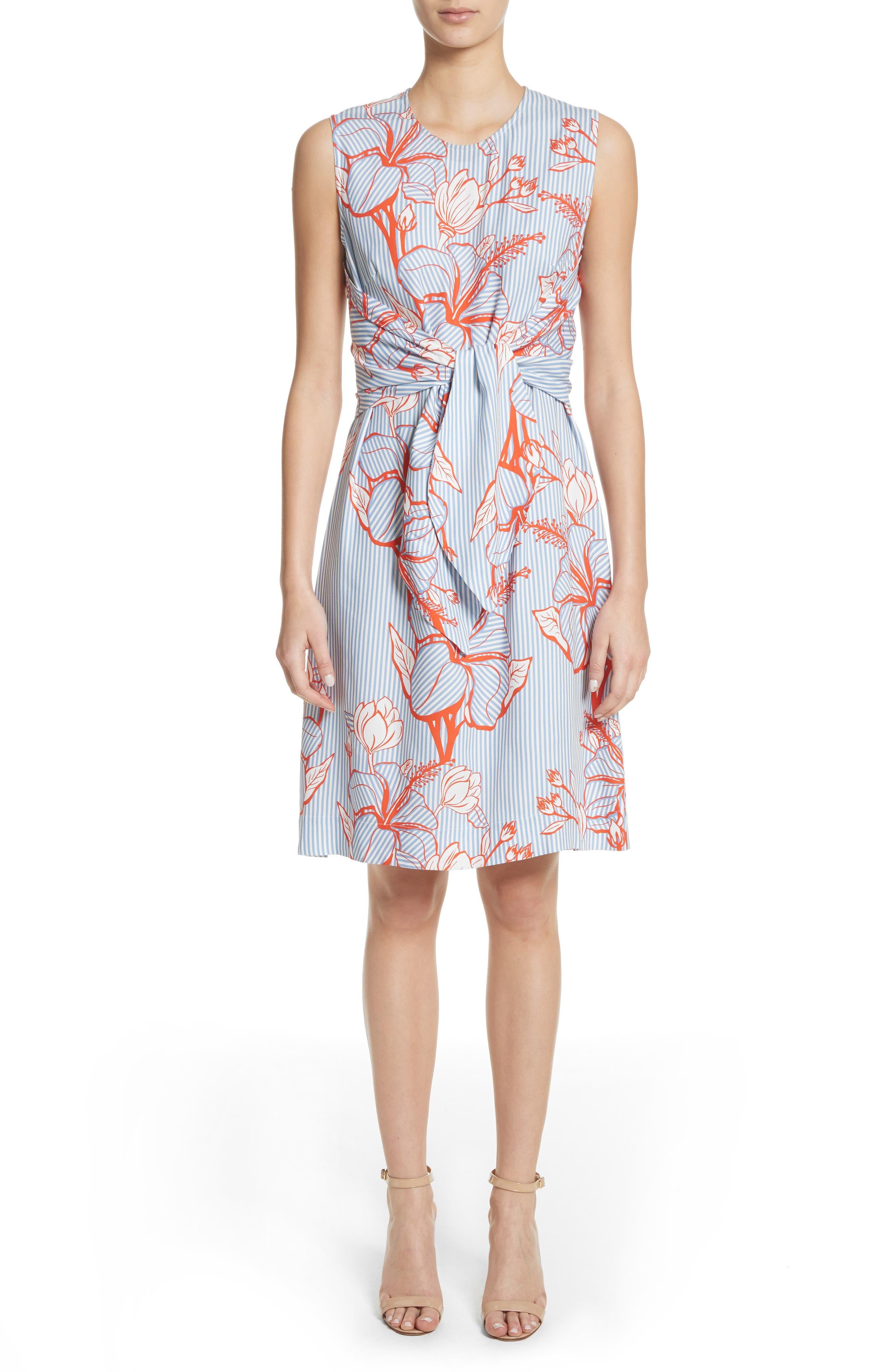 Lela Rose Tie Front Floral Stripe Dress
