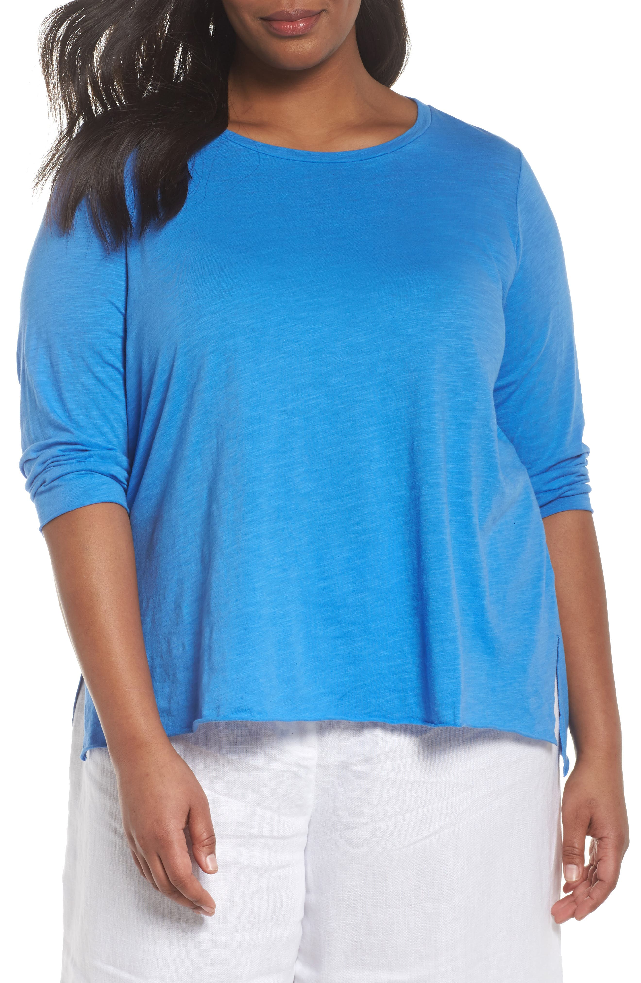 Round Neck Tunic,                         Main,                         color, Blue Bell