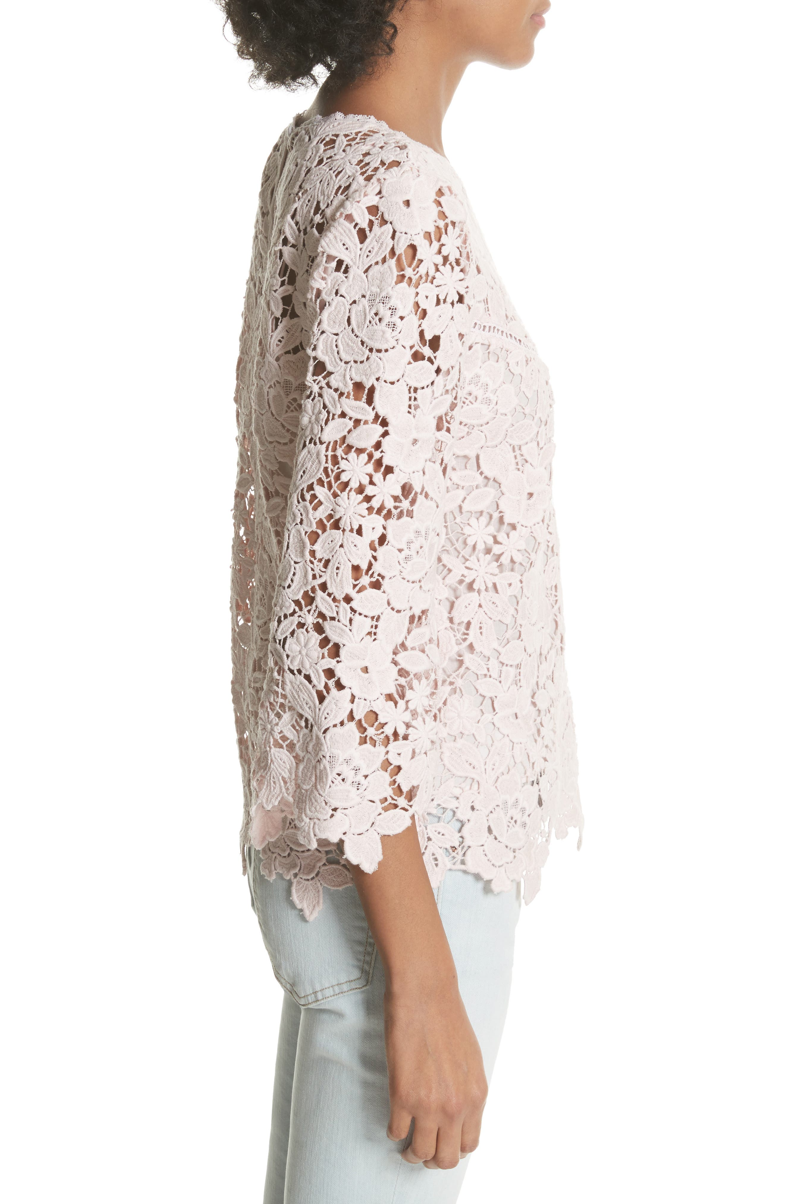 Charnette Lace Top,                             Alternate thumbnail 3, color,                             Rosewater