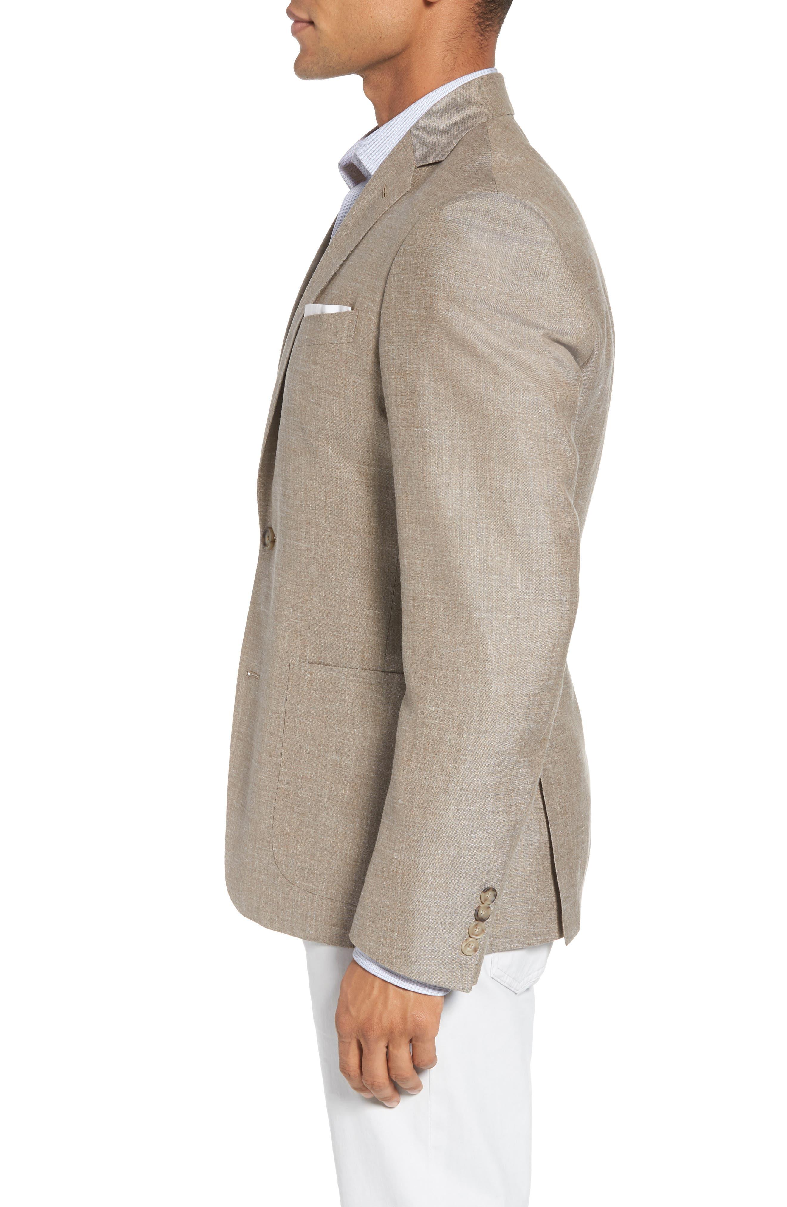 Trim Fit Wool Blend Blazer,                             Alternate thumbnail 3, color,                             Tan