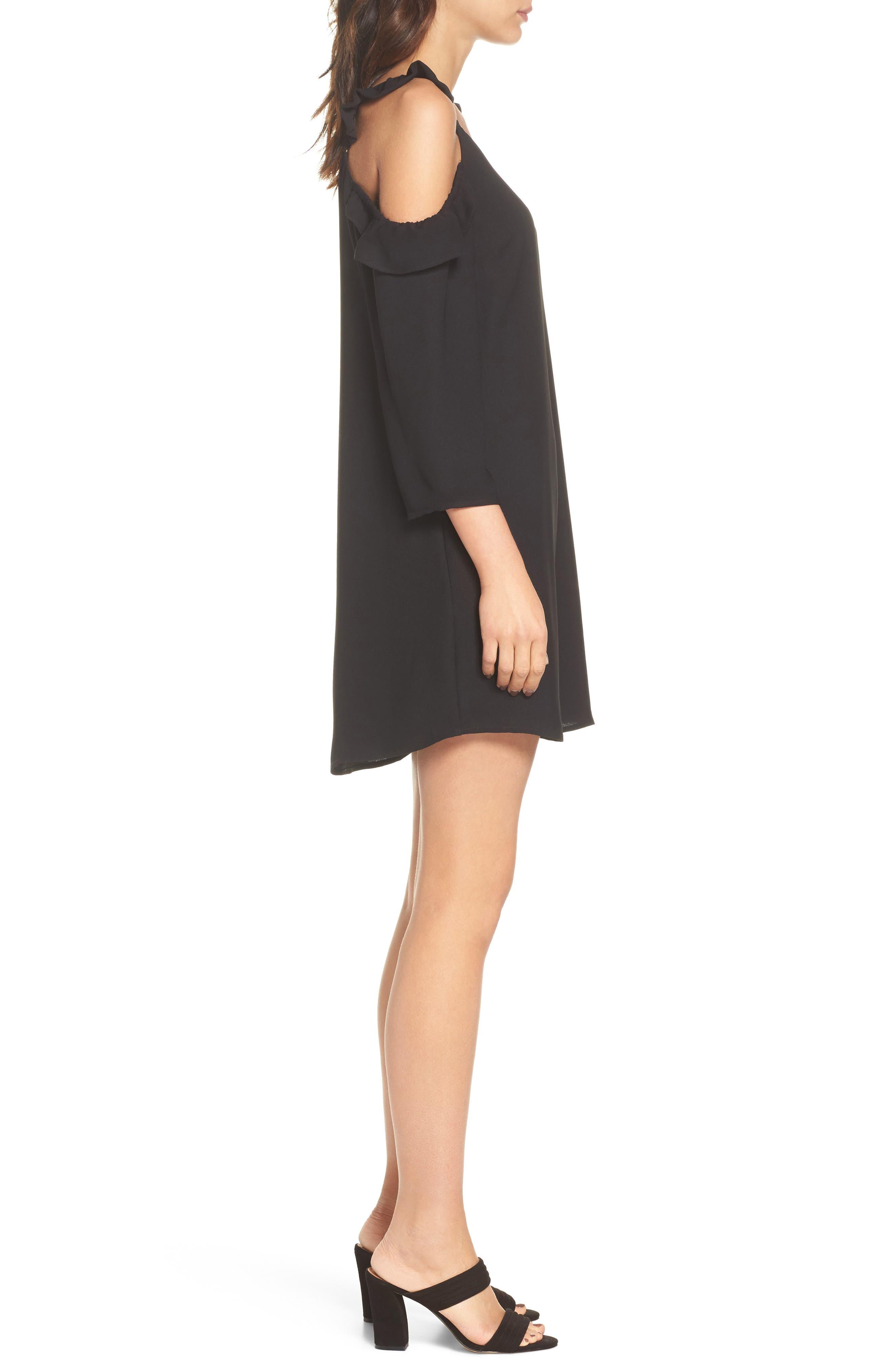Ruffle Cold Shoulder Dress,                             Alternate thumbnail 3, color,                             Black