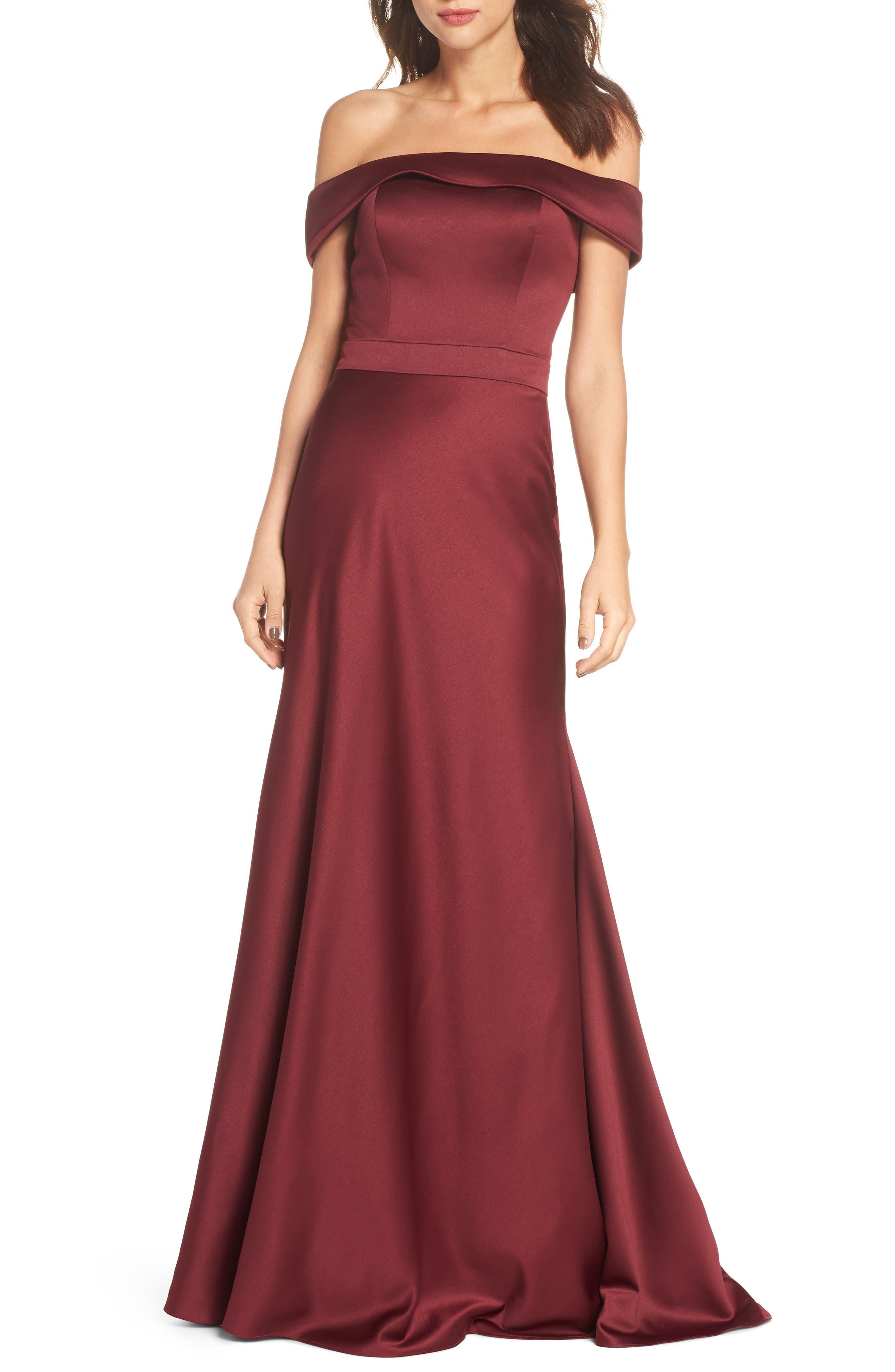 Main Image - La Femme Satin Off the Shoulder Gown