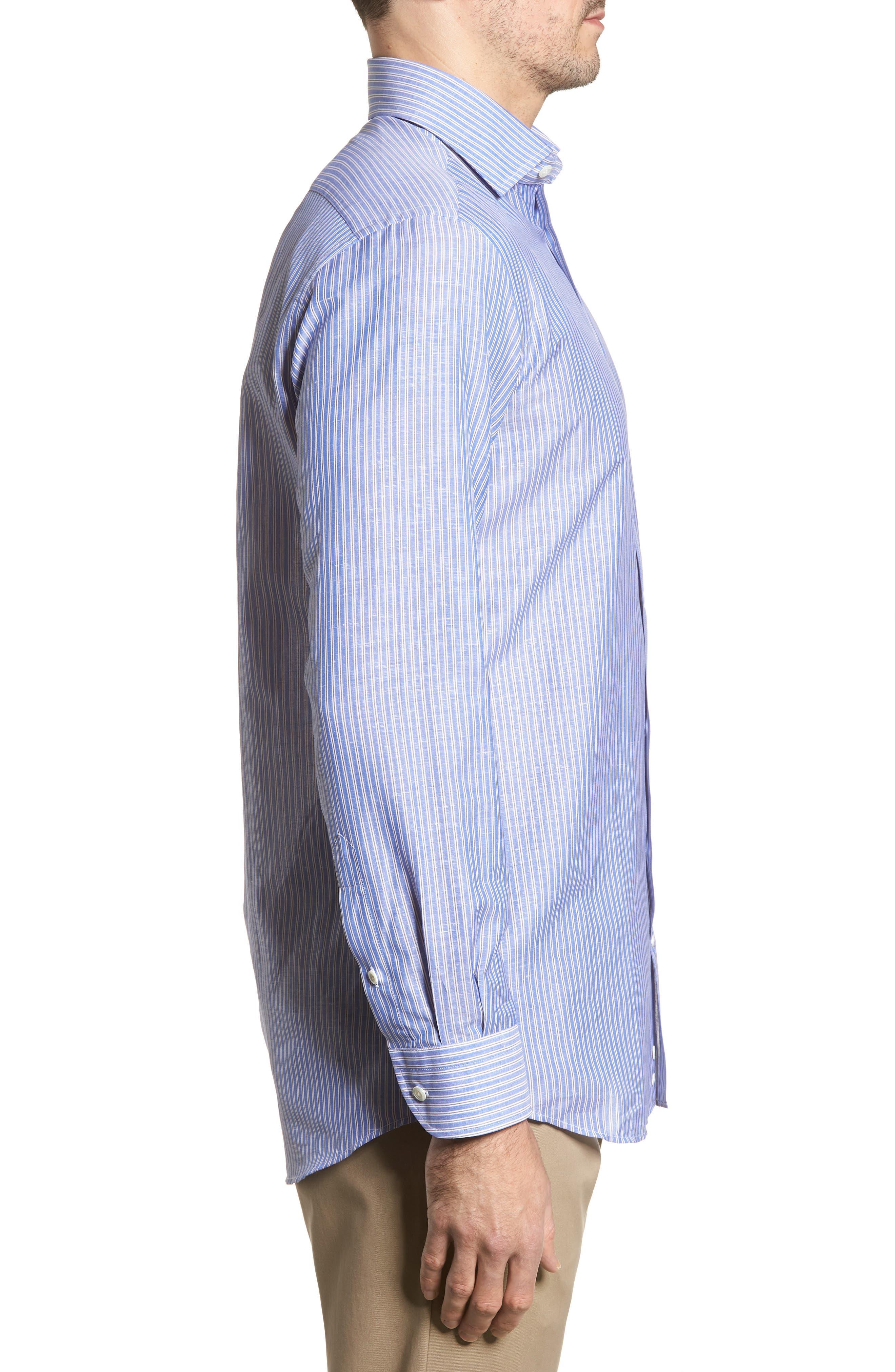Trim Fit Stripe Sport Shirt,                             Alternate thumbnail 3, color,                             Navy